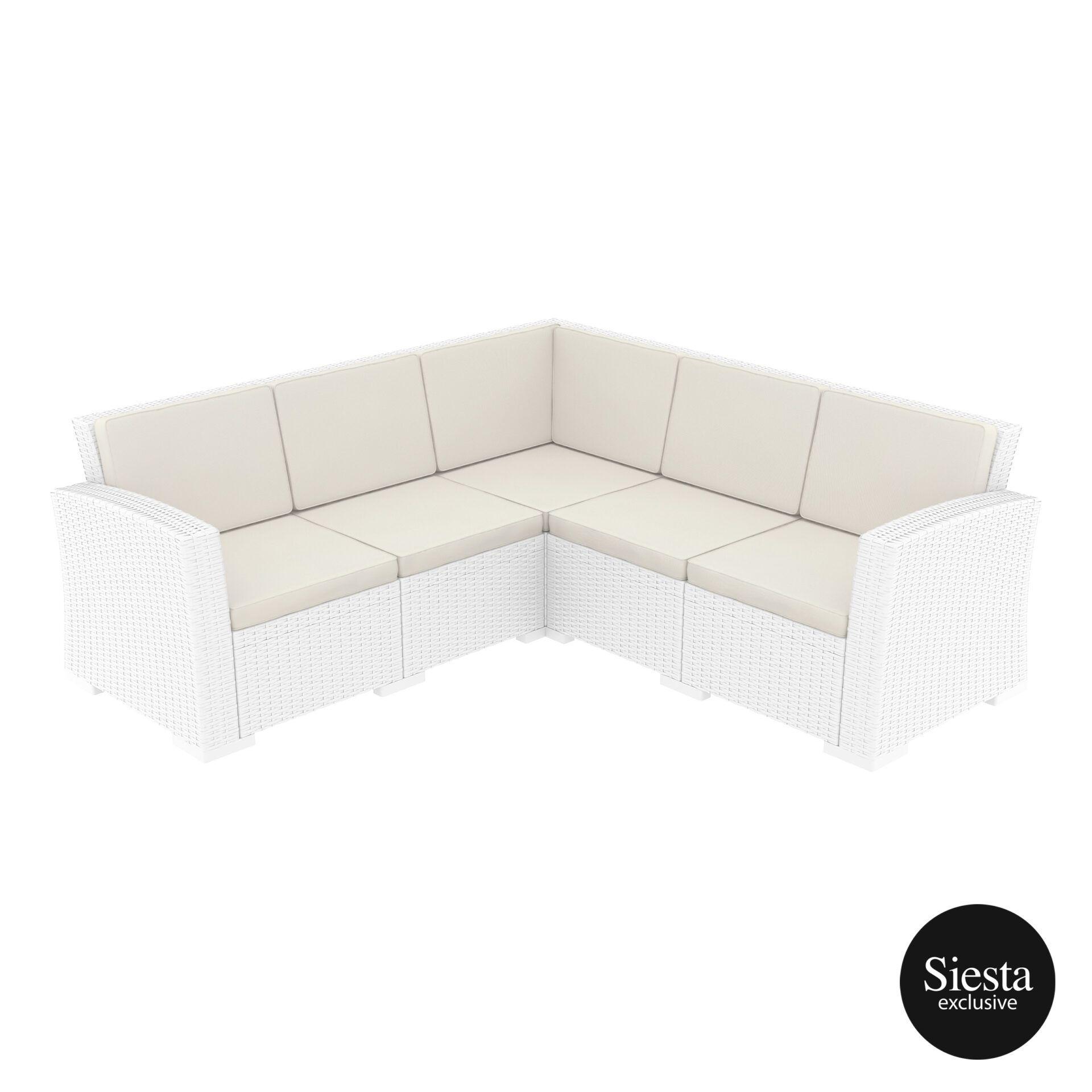 resin rattan monaco corner 3x2 sofa white front side 1