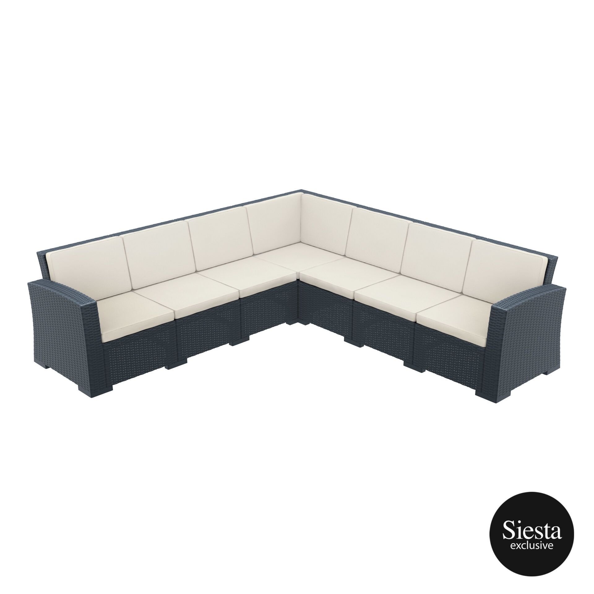 resin rattan monaco corner 4x3 sofa darkgrey front side