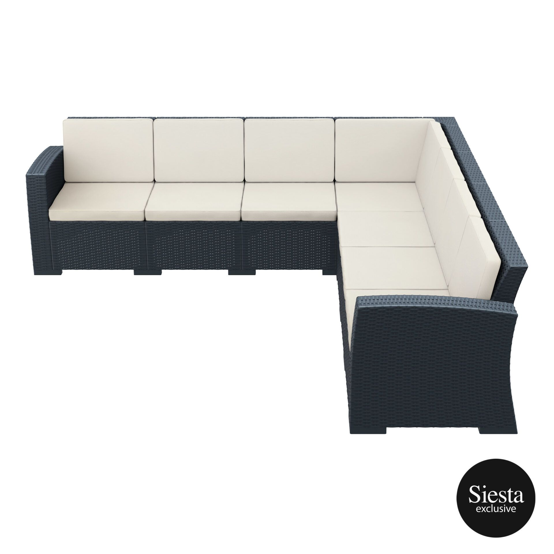 resin rattan monaco corner 4x3 sofa darkgrey side