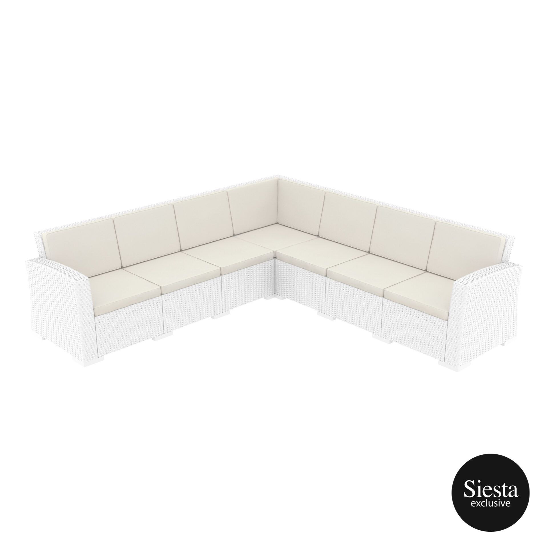 resin rattan monaco corner 4x3 sofa white front side