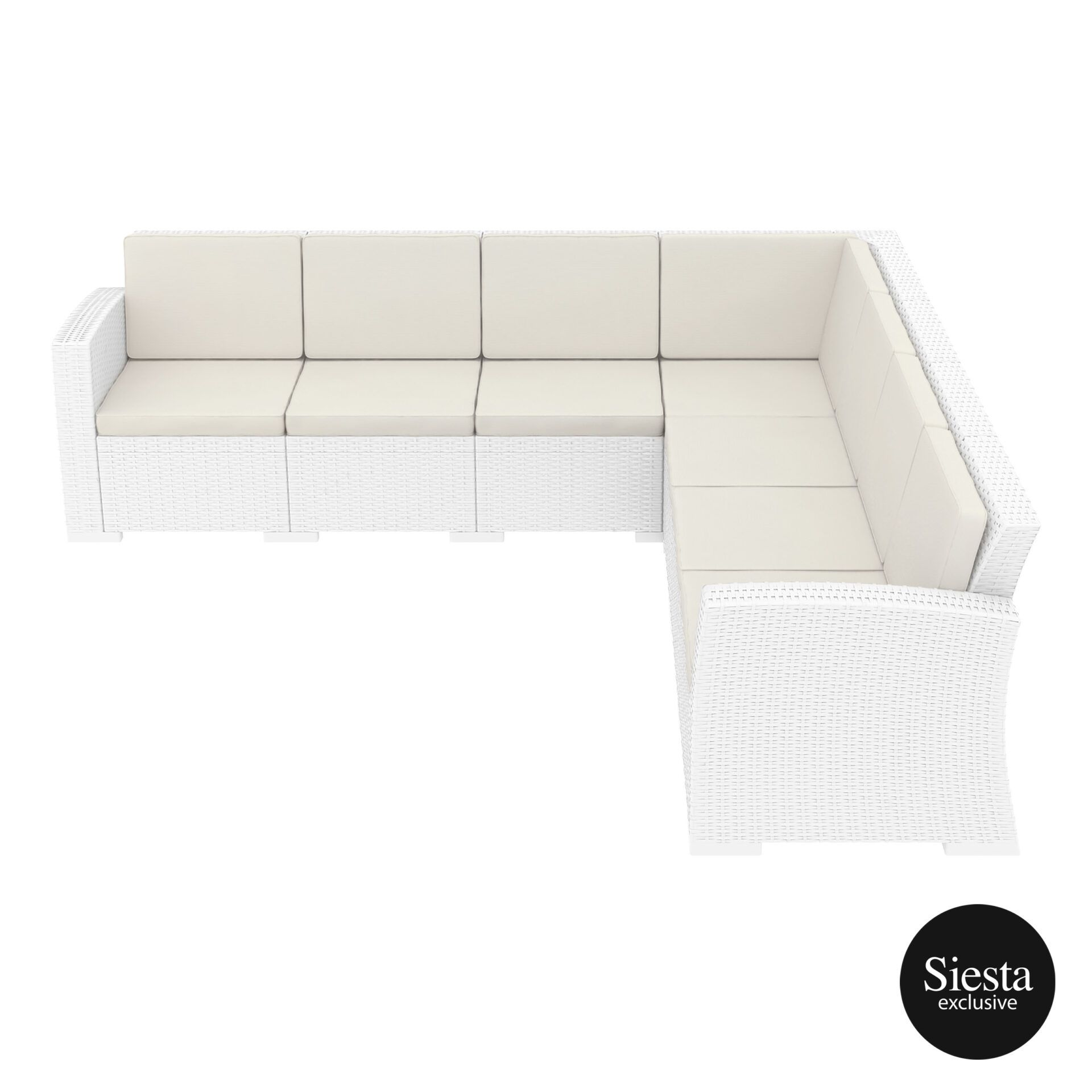 resin rattan monaco corner 4x3 sofa white side