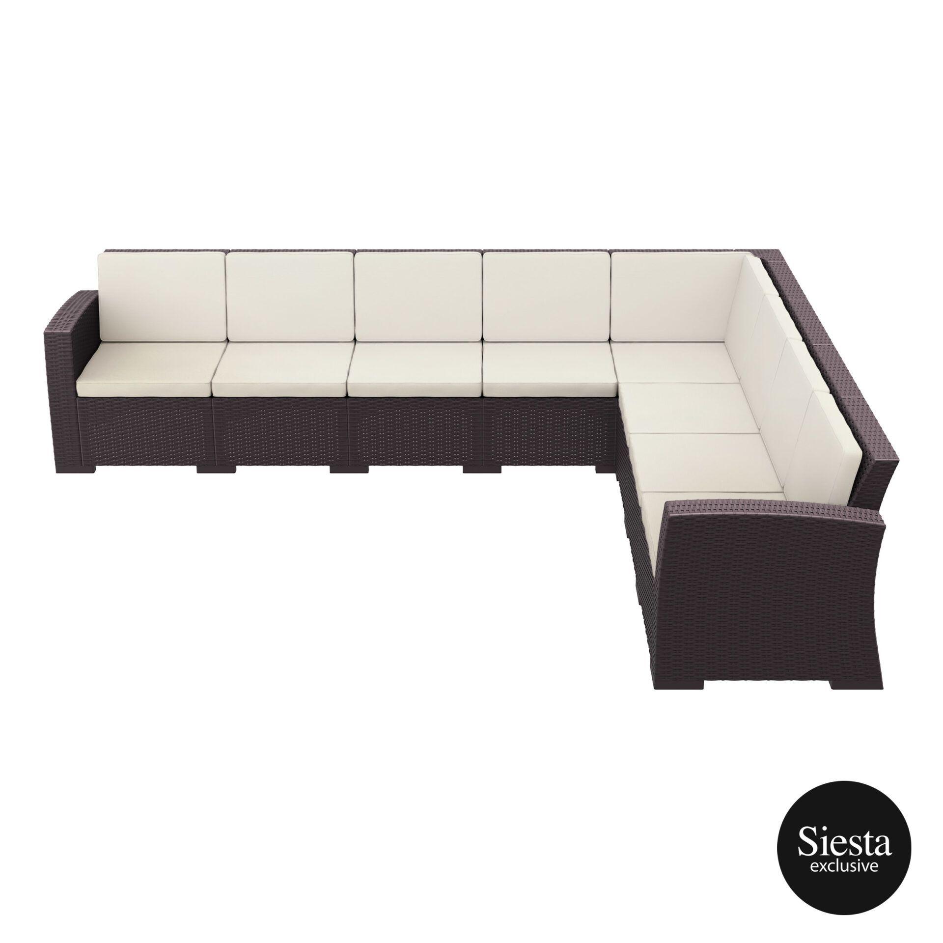 resin rattan monaco corner 5x3 sofa brown side