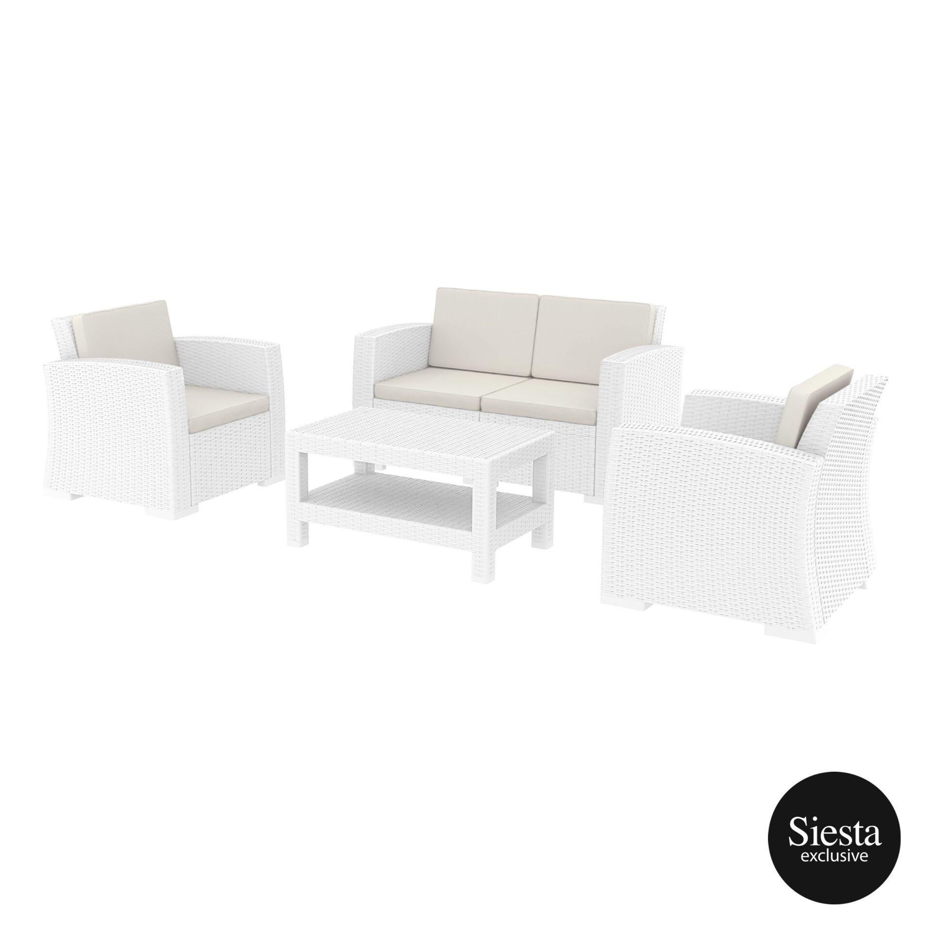 resin rattan monaco lounge set white front side 1