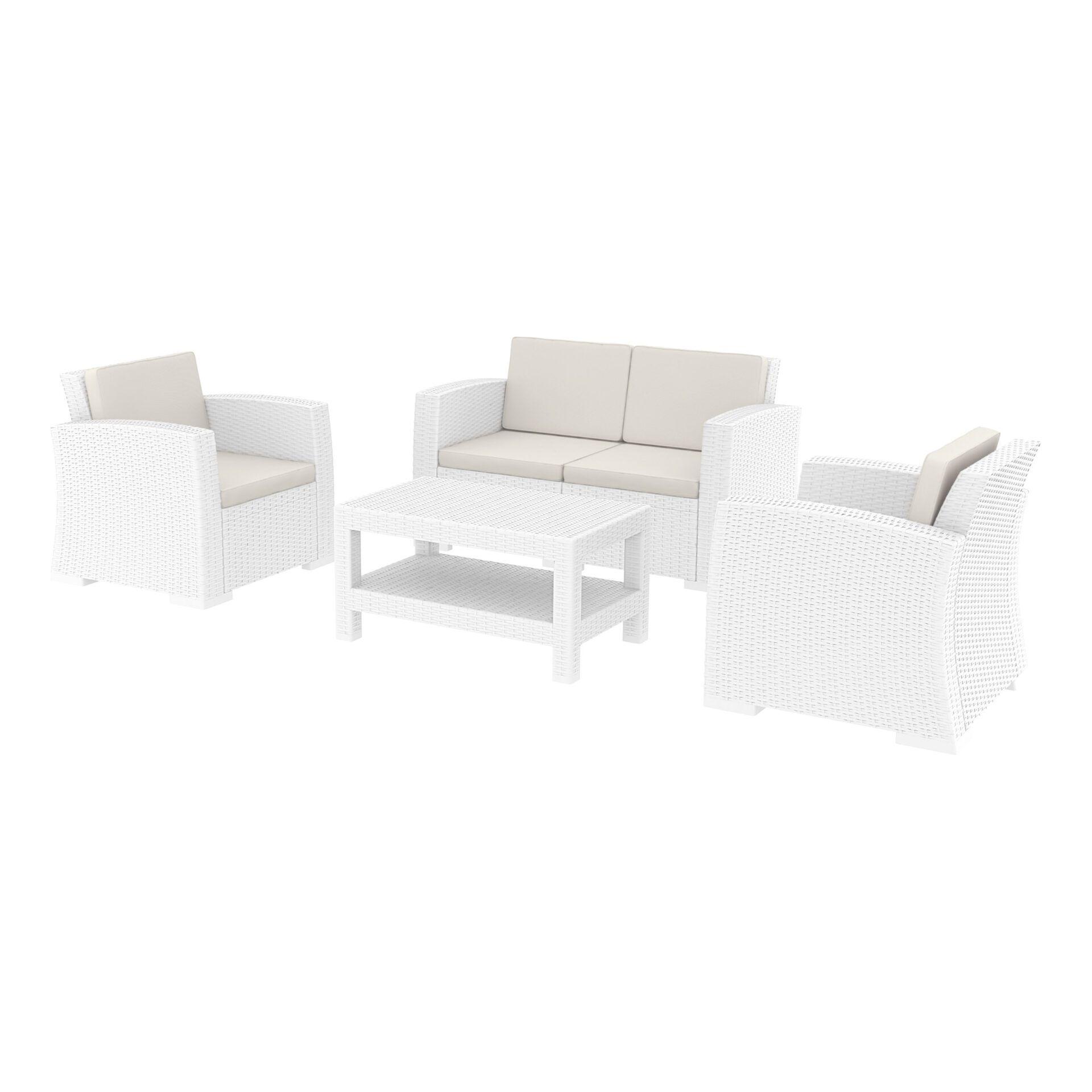 resin rattan monaco lounge set white front side