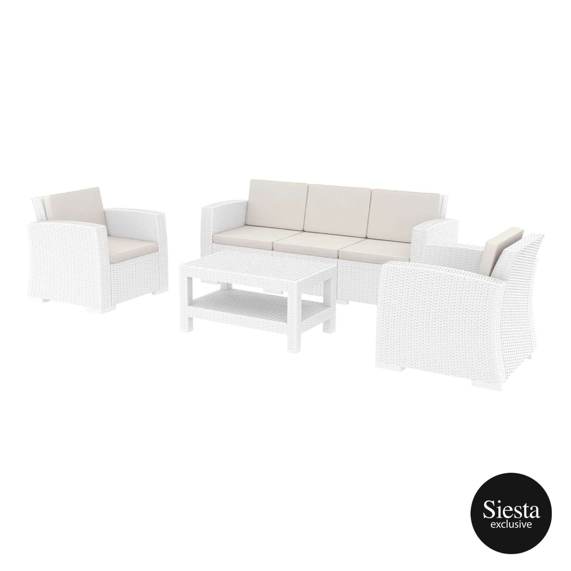 resin rattan monaco lounge set xl white front side 1