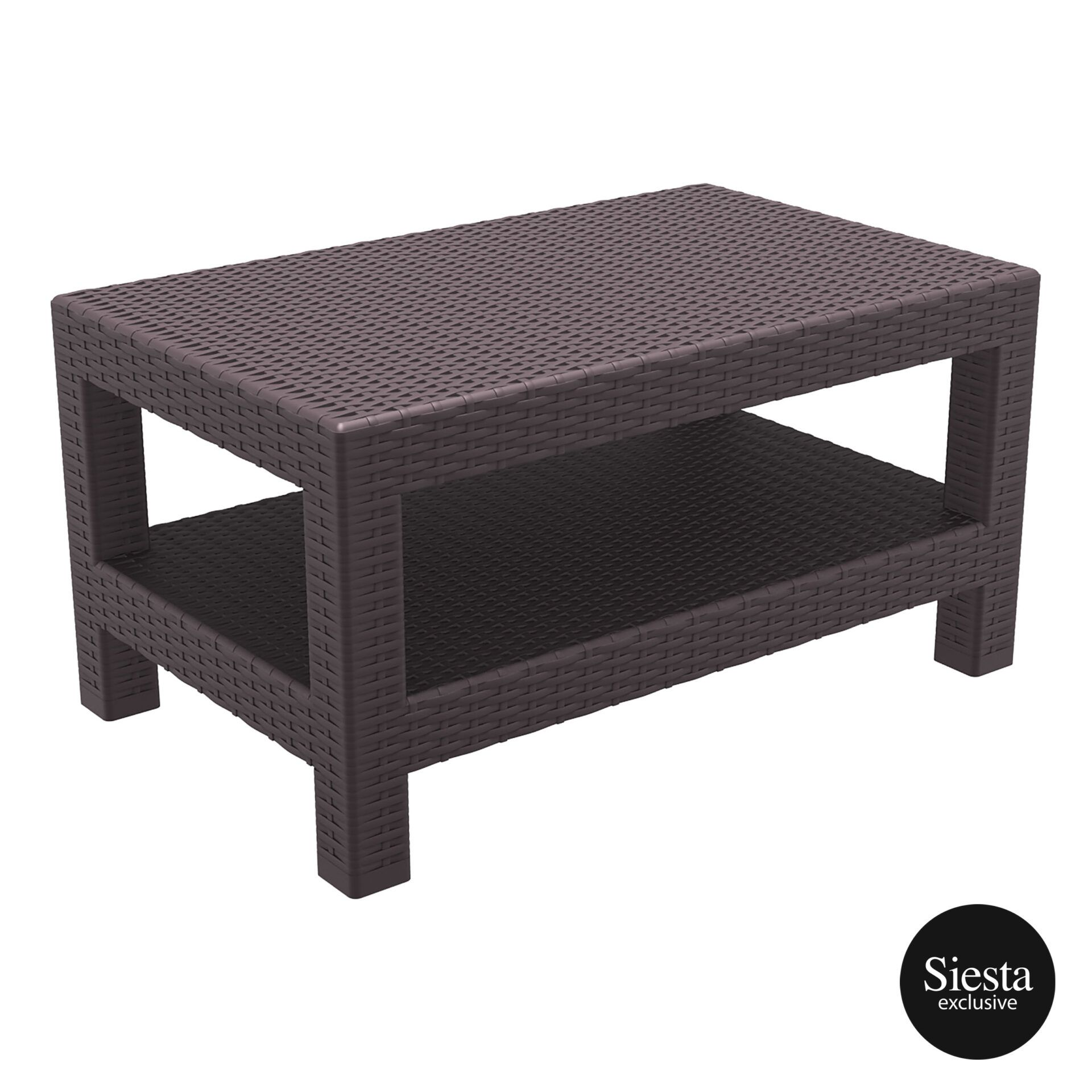resin rattan monaco lounge table brown front side 1