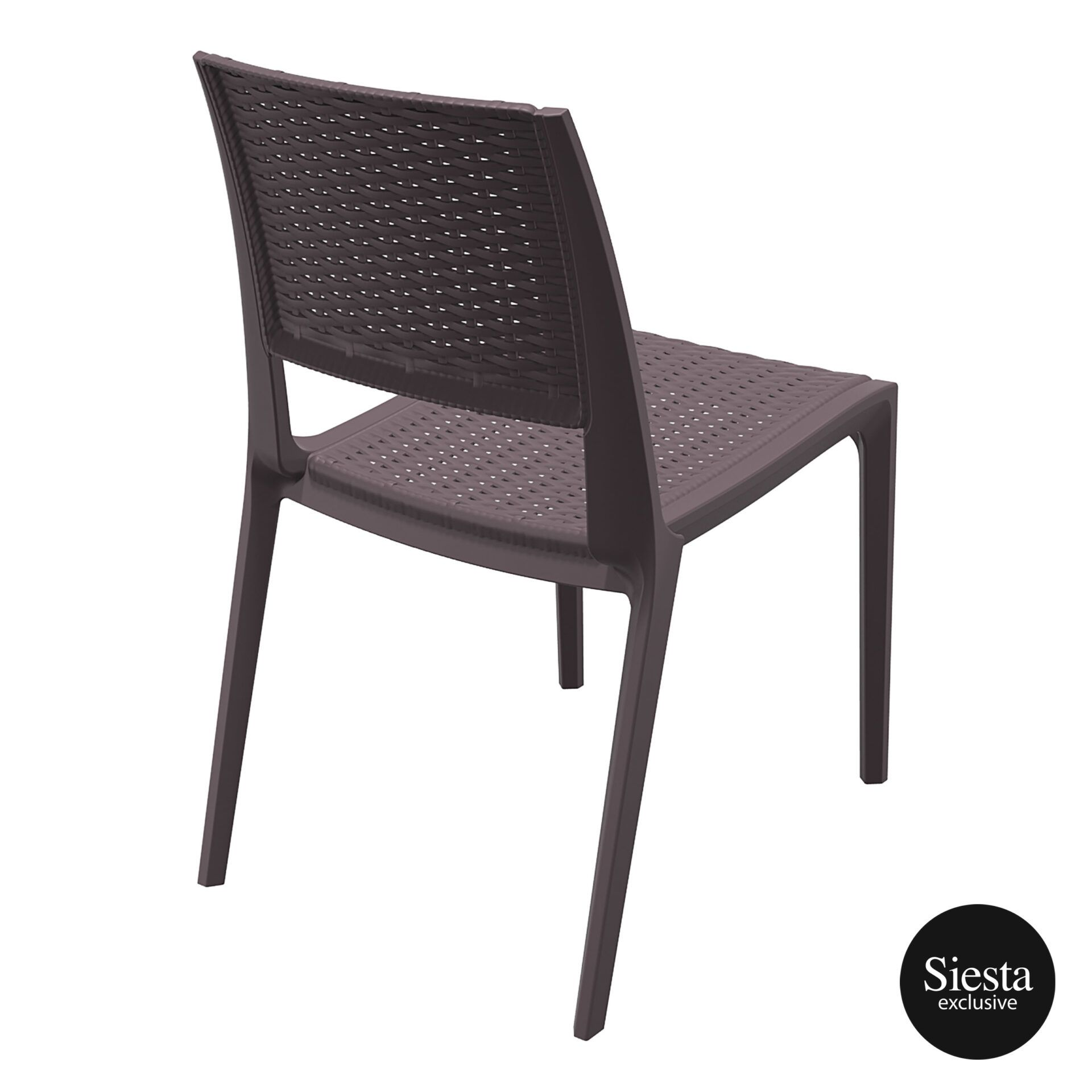 resin rattan outdoor cafe verona chair brown back side 1