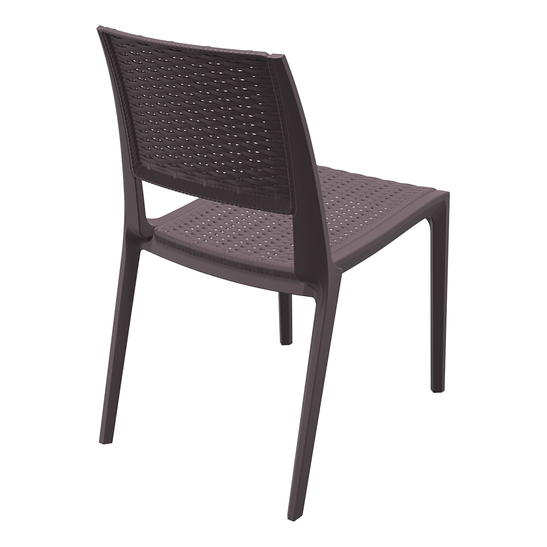 resin rattan outdoor cafe verona chair brown back side
