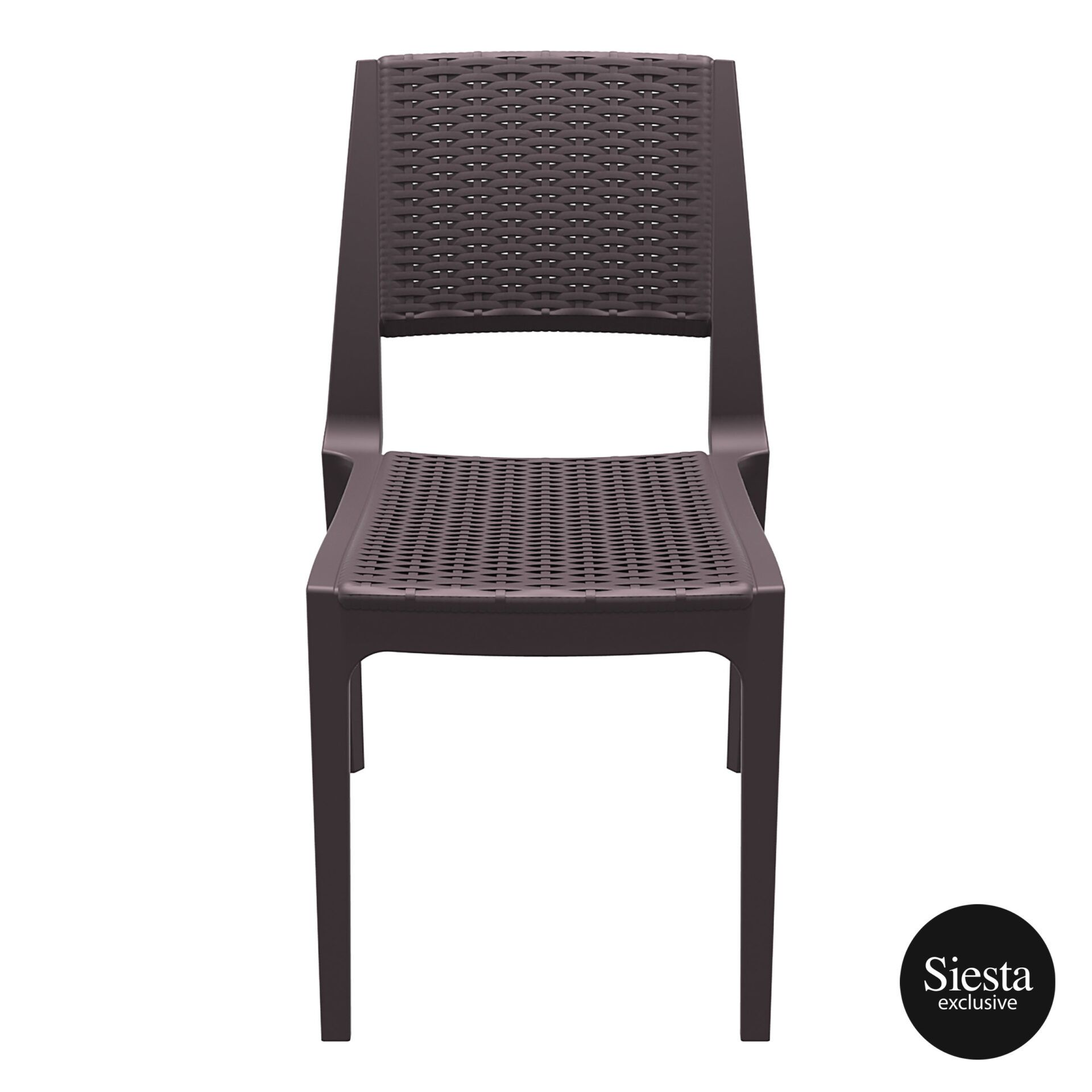 resin rattan outdoor cafe verona chair brown front 1