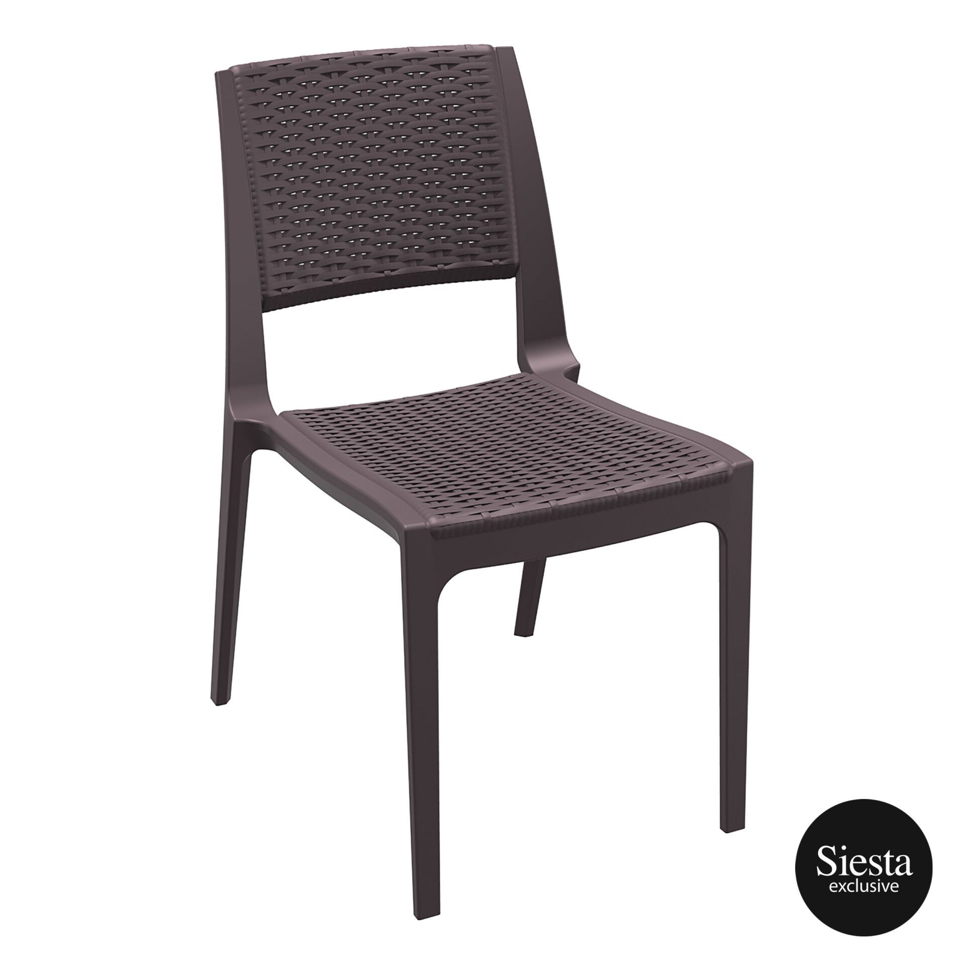 resin rattan outdoor cafe verona chair brown front side 1