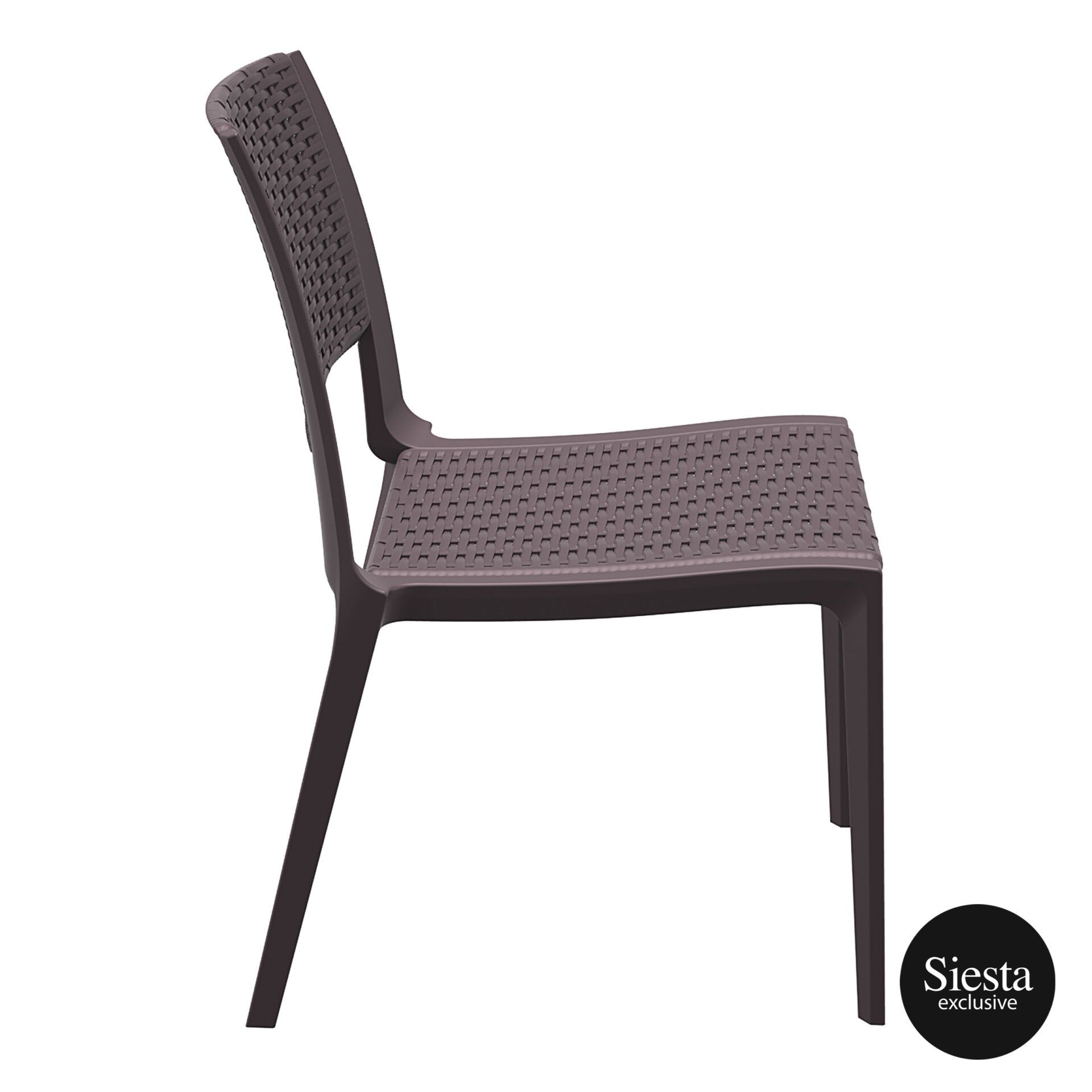 resin rattan outdoor cafe verona chair brown side 1