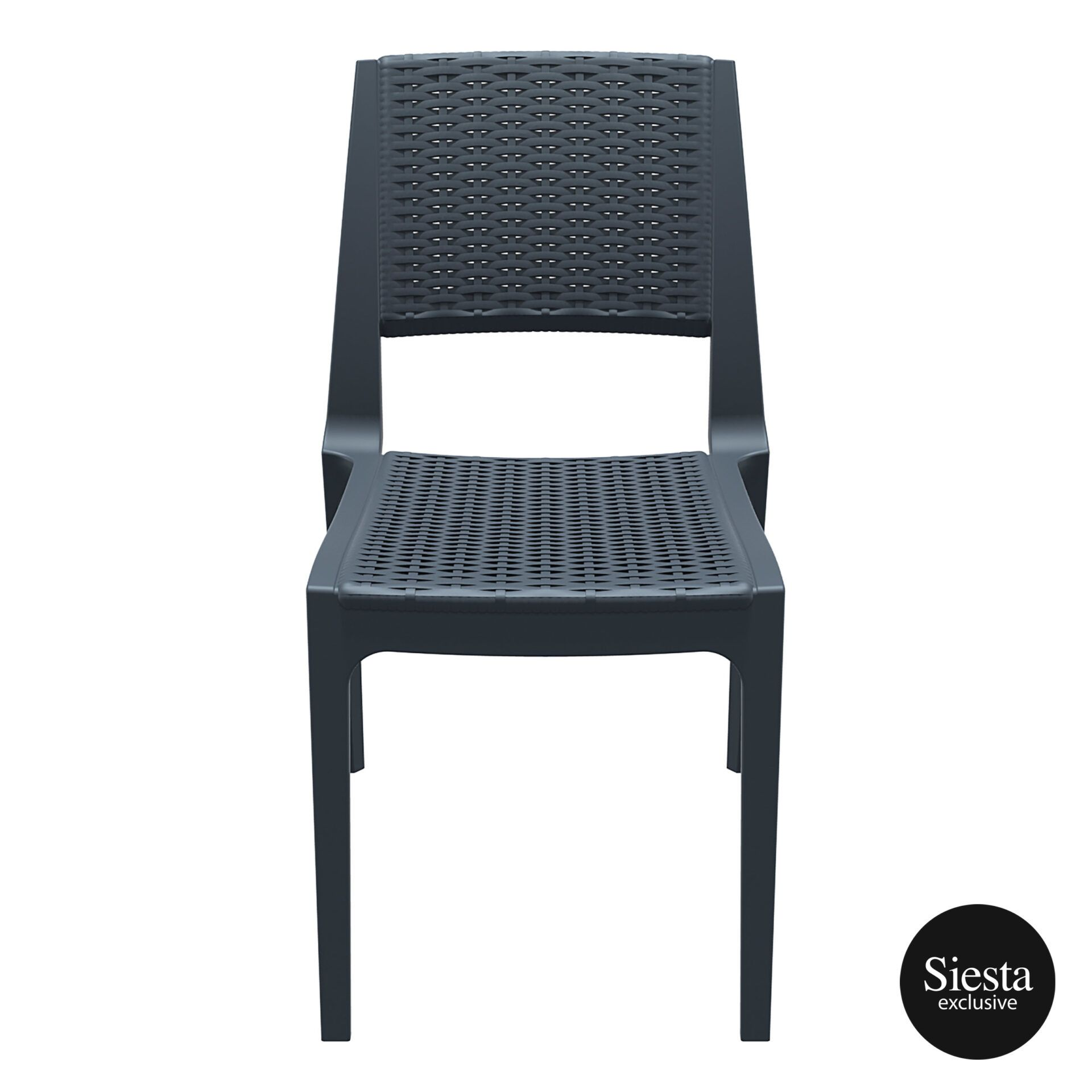 resin rattan outdoor cafe verona chair darkgrey front 1