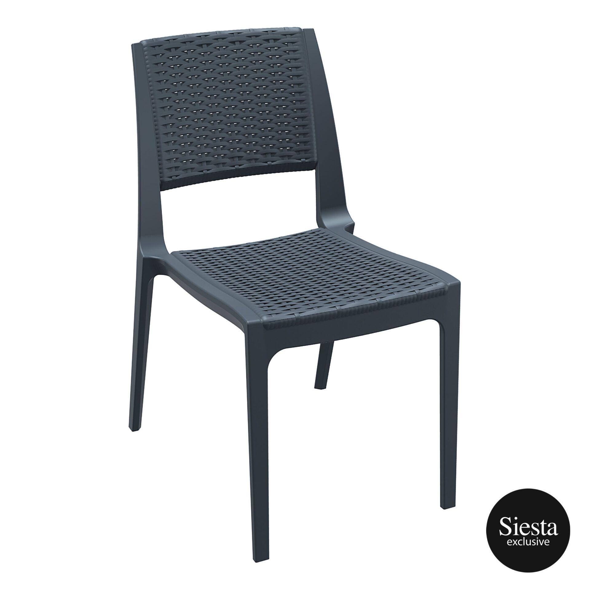 resin rattan outdoor cafe verona chair darkgrey front side 1