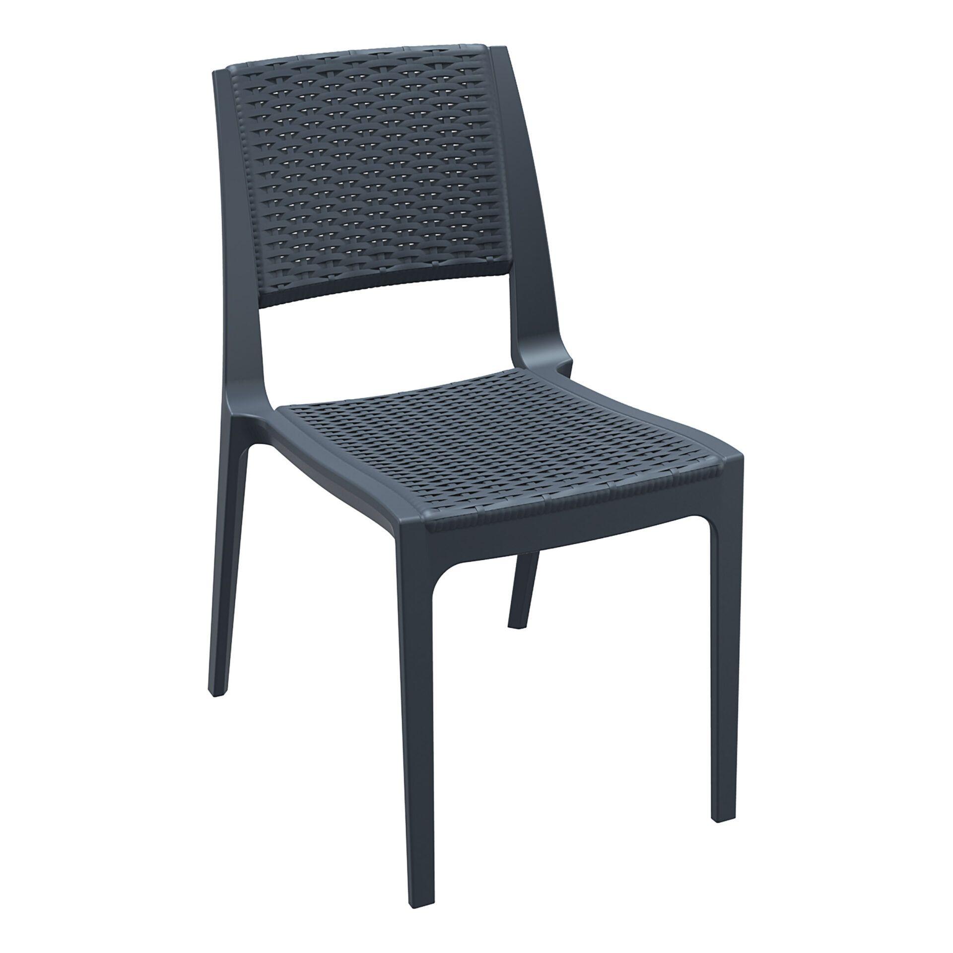 resin rattan outdoor cafe verona chair darkgrey front side