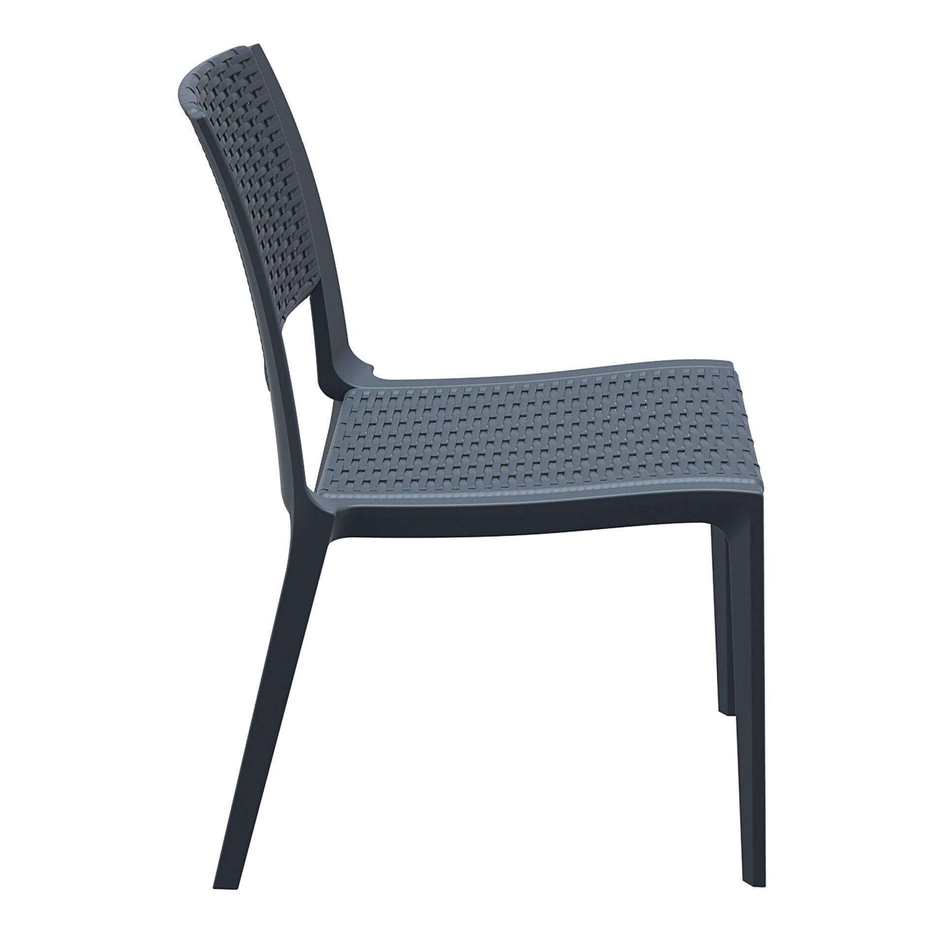 resin rattan outdoor cafe verona chair darkgrey side