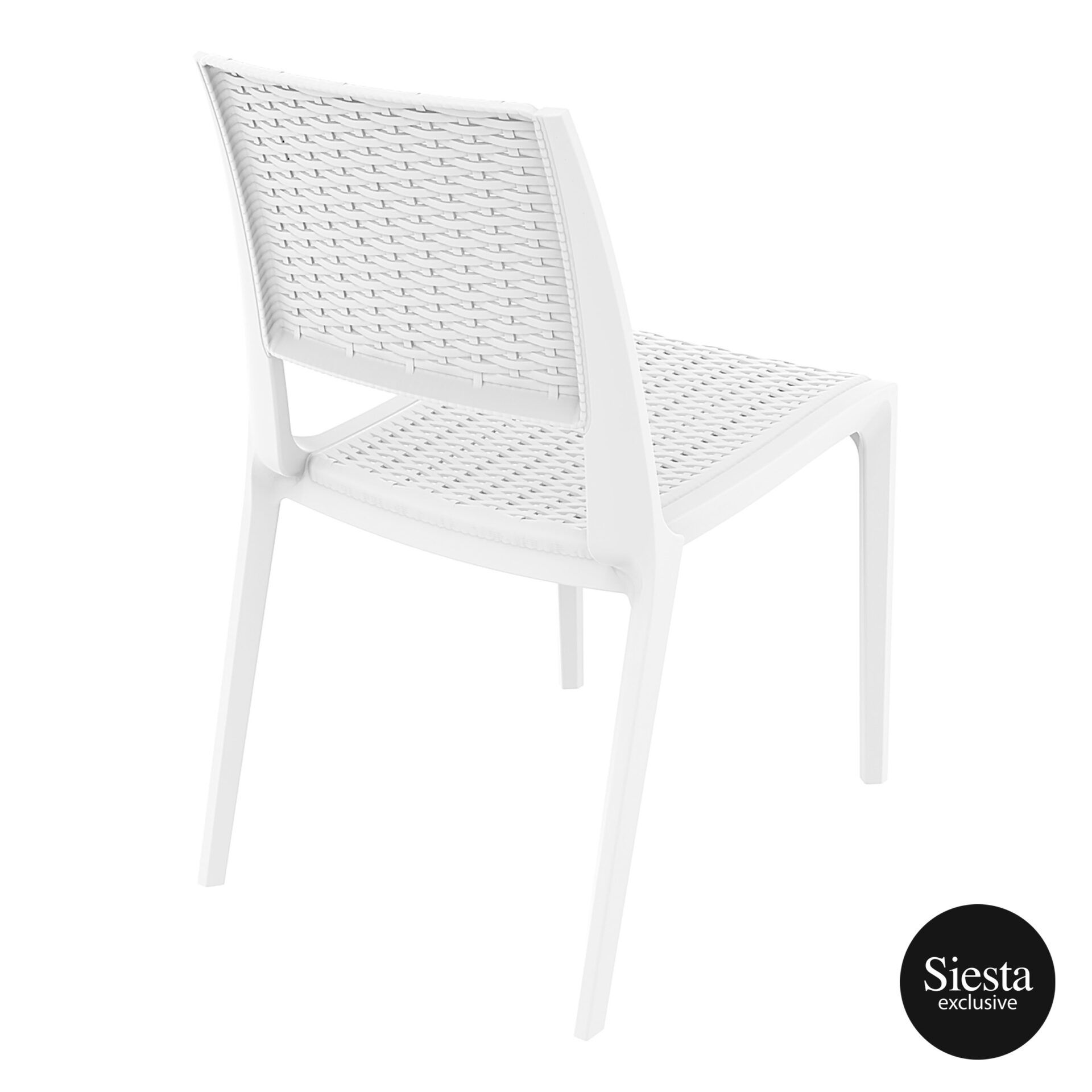 resin rattan outdoor cafe verona chair white back side 1