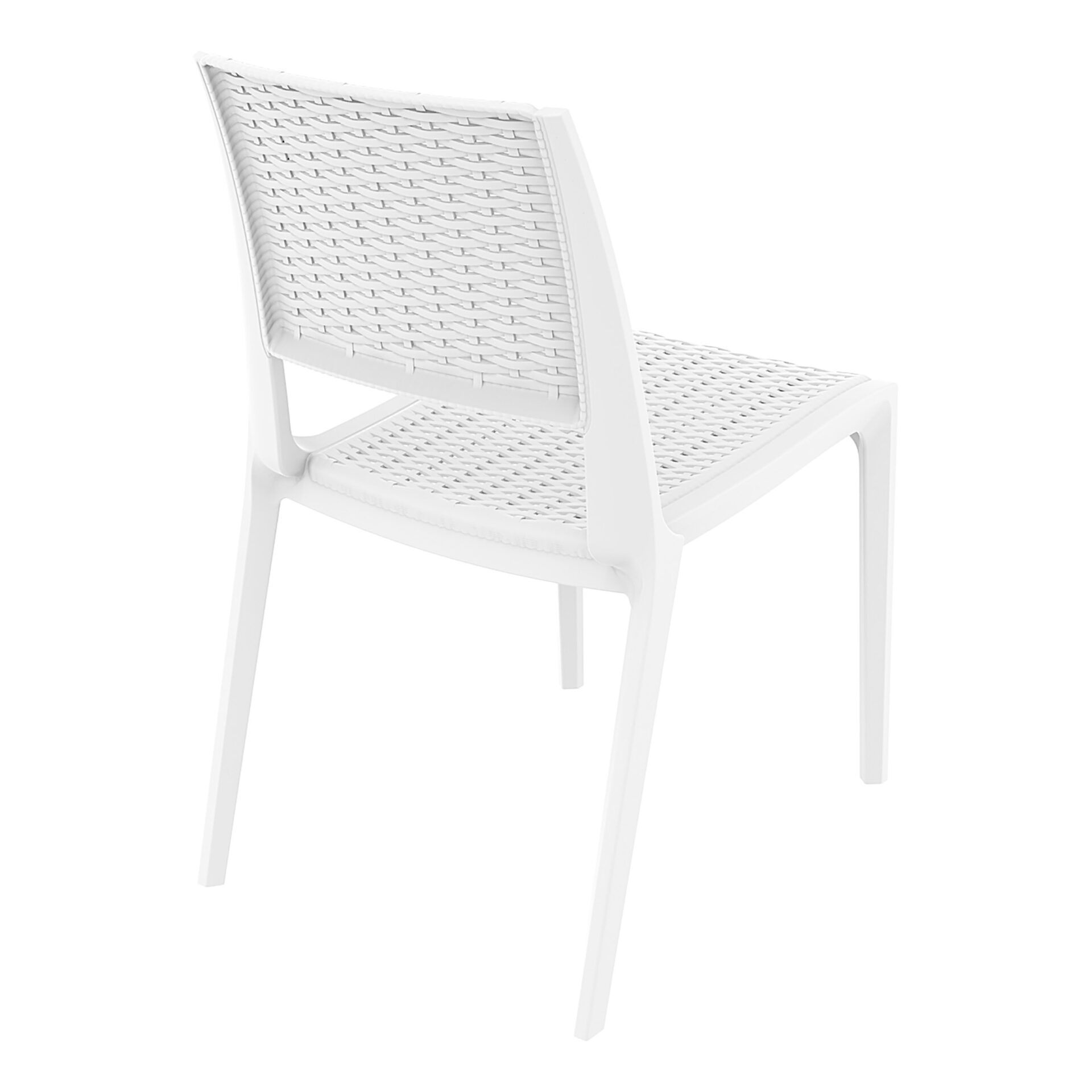 resin rattan outdoor cafe verona chair white back side