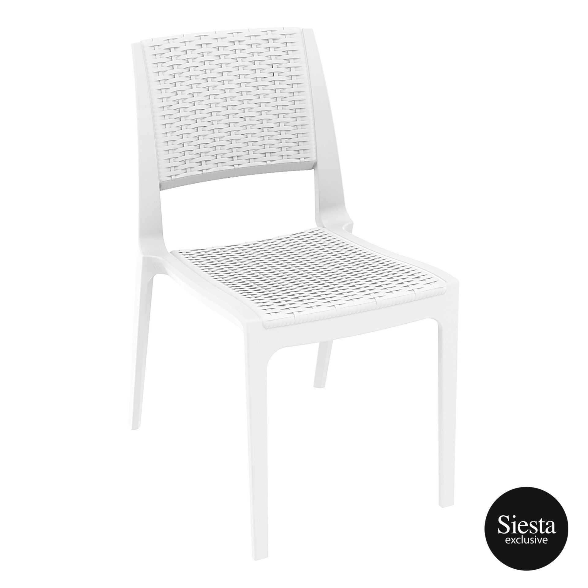 resin rattan outdoor cafe verona chair white front side 1