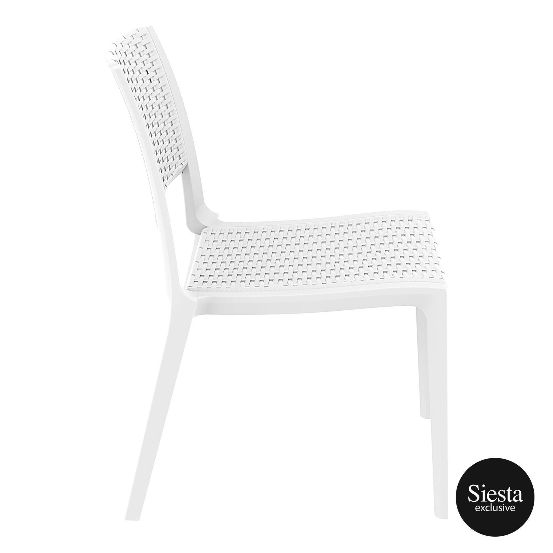 resin rattan outdoor cafe verona chair white side 1