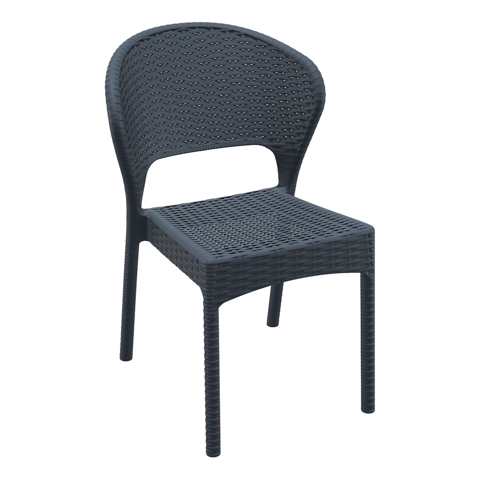 resin rattan outdoor daytona chair darkgrey front side