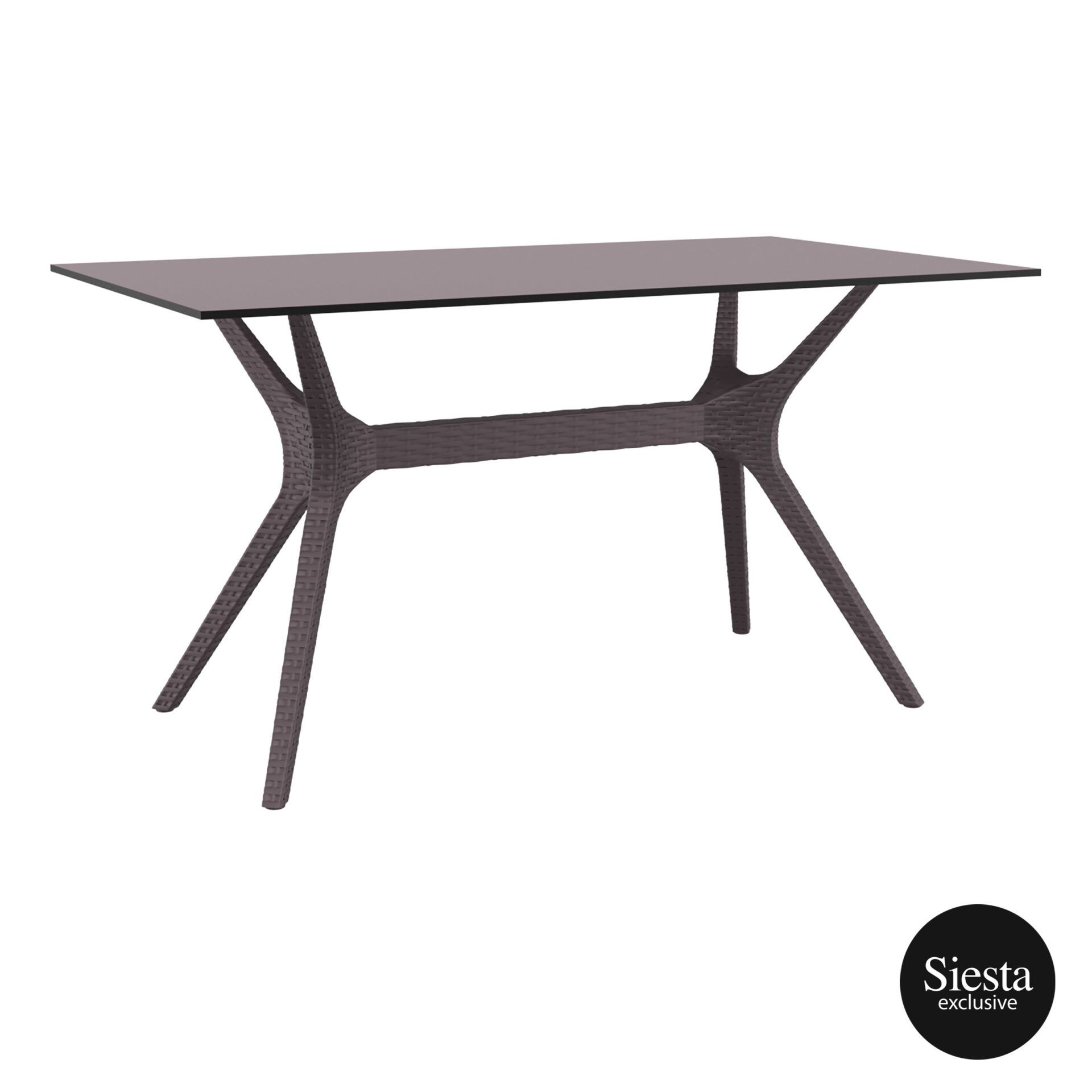 resin rattan polypropylene outdoor dining ibiza table 140 brown front side 1