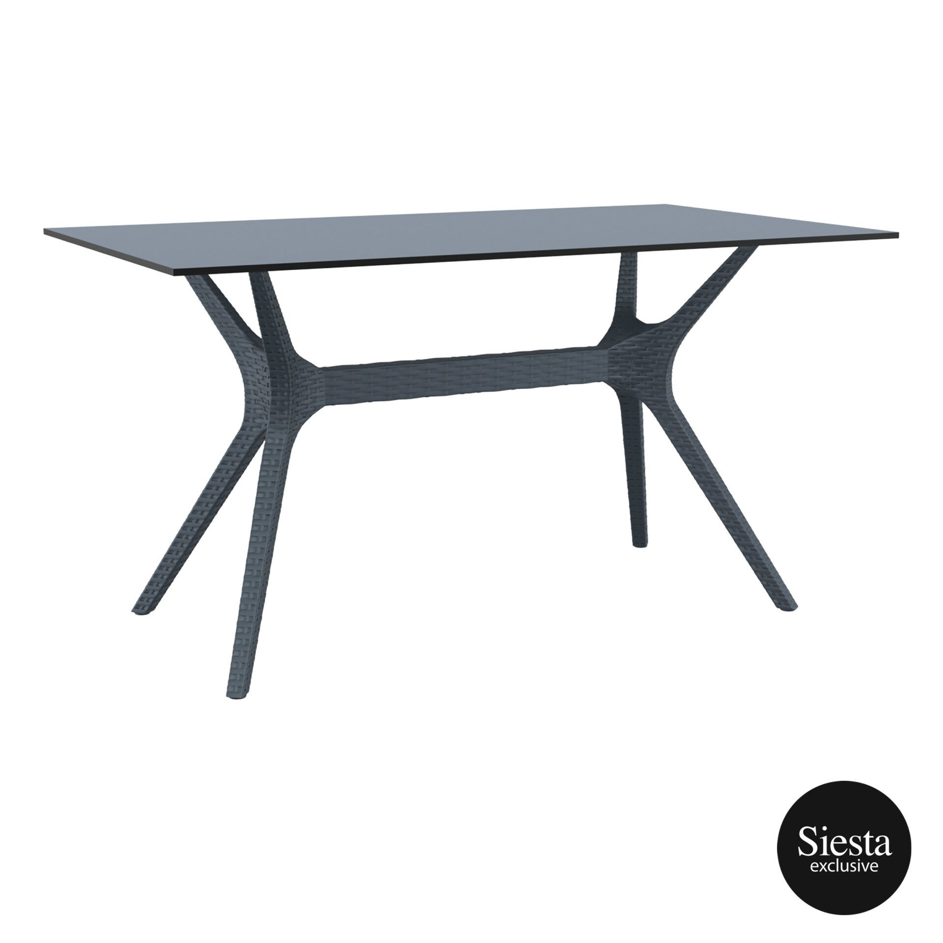 resin rattan polypropylene outdoor dining ibiza table 140 darkgrey front side 1