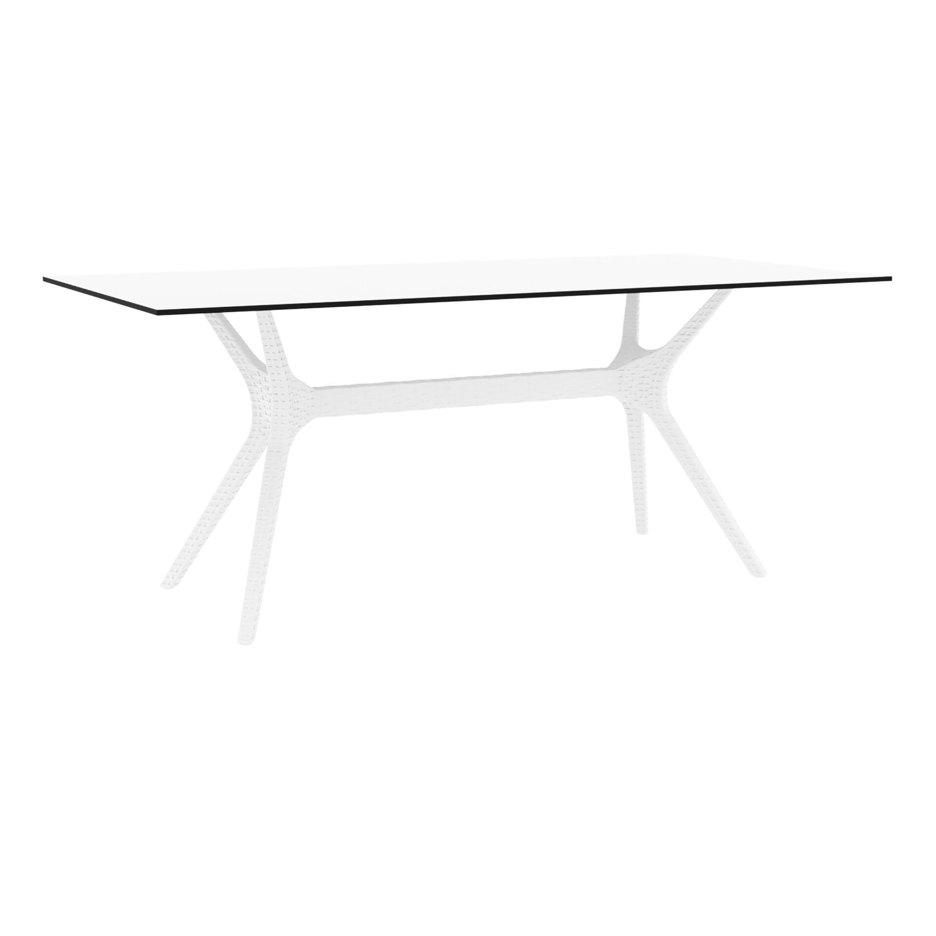 resin rattan polypropylene outdoor dining ibiza table 180 white front side