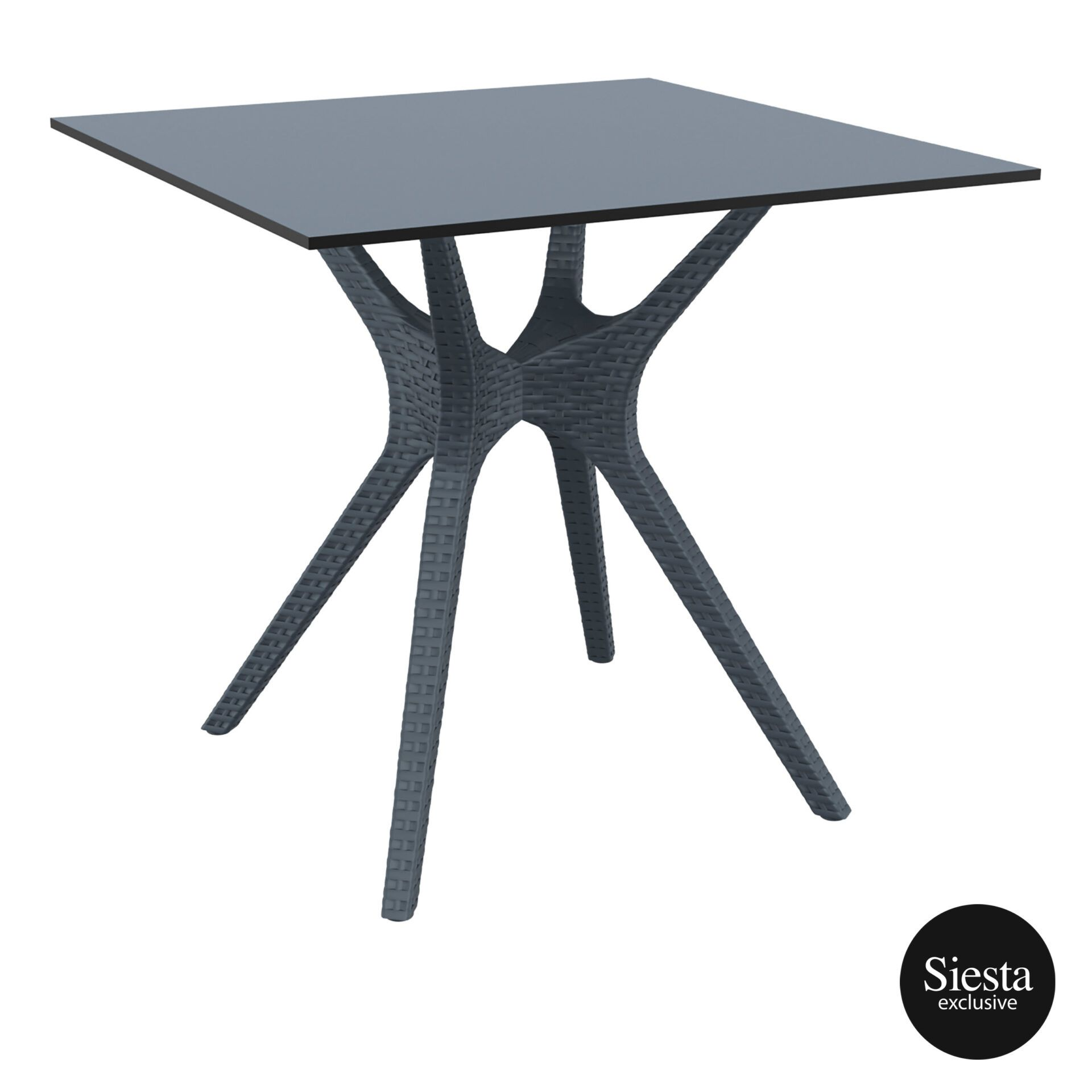 resin rattan restaurant ibiza table 80 darkgrey front side 1