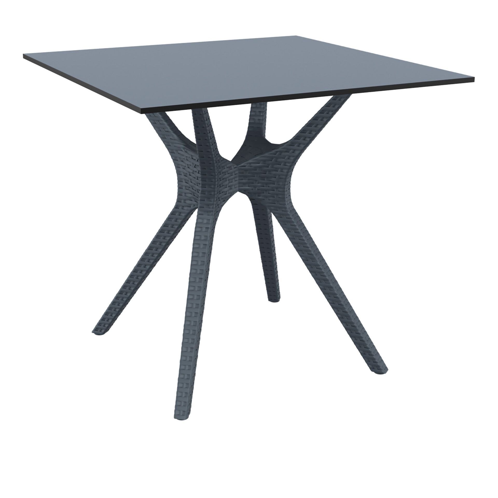 resin rattan restaurant ibiza table 80 darkgrey front side