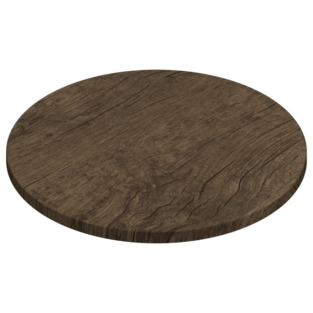 Werzalit By Gentas Round Table Top Rustic Dark Oak