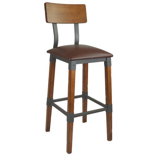 Custom Genoa Barstool 760h Vinyl Seat Dt Timber Backrest Aw