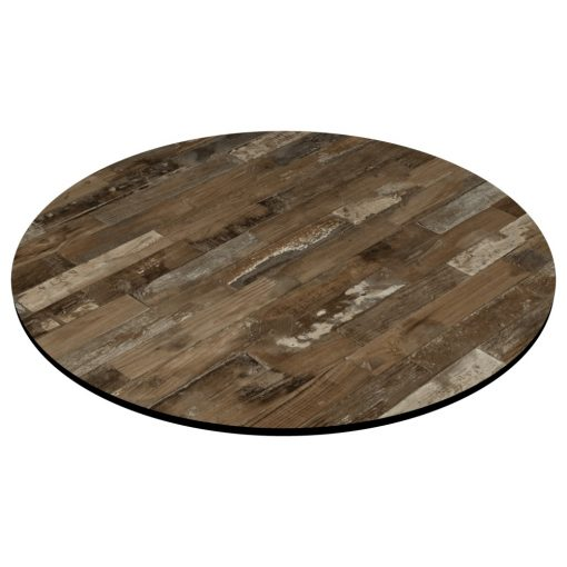 Compact Laminate Top Round Rustic Block Wood