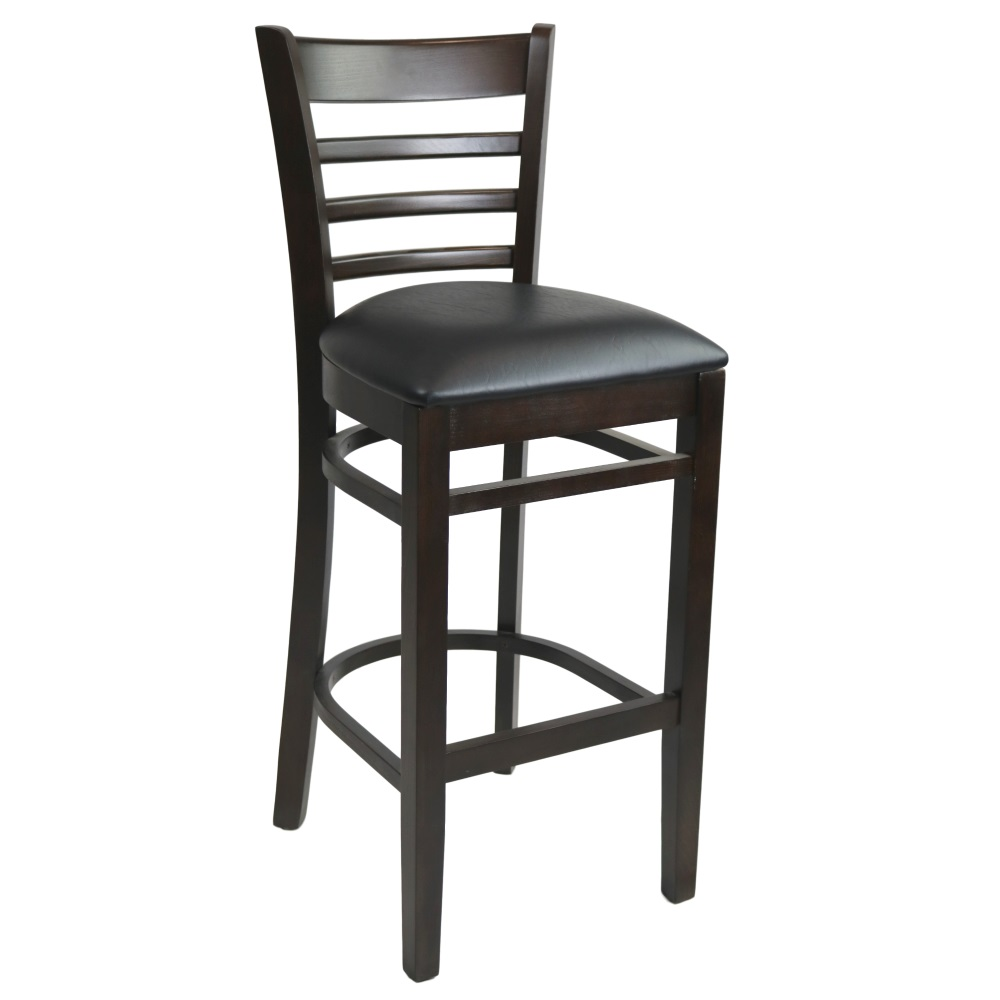 Kit A C Florence Barstool Chocolate Vinyl Seat Black