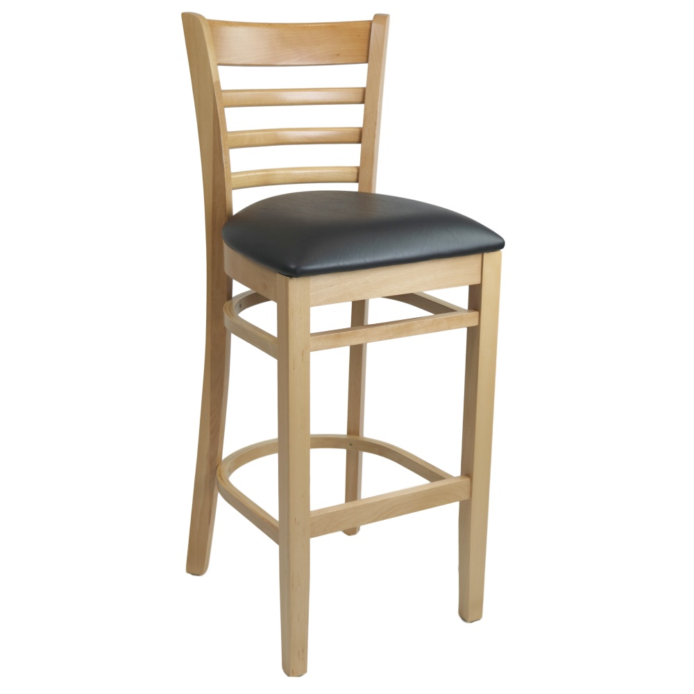 Kit A C Florence Barstool Natural Vinyl Seat Black