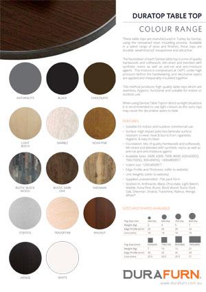 Duratop Colour Chart