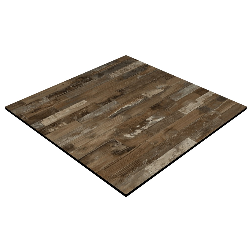 Compact Laminate Top Square Rustic Block Wood