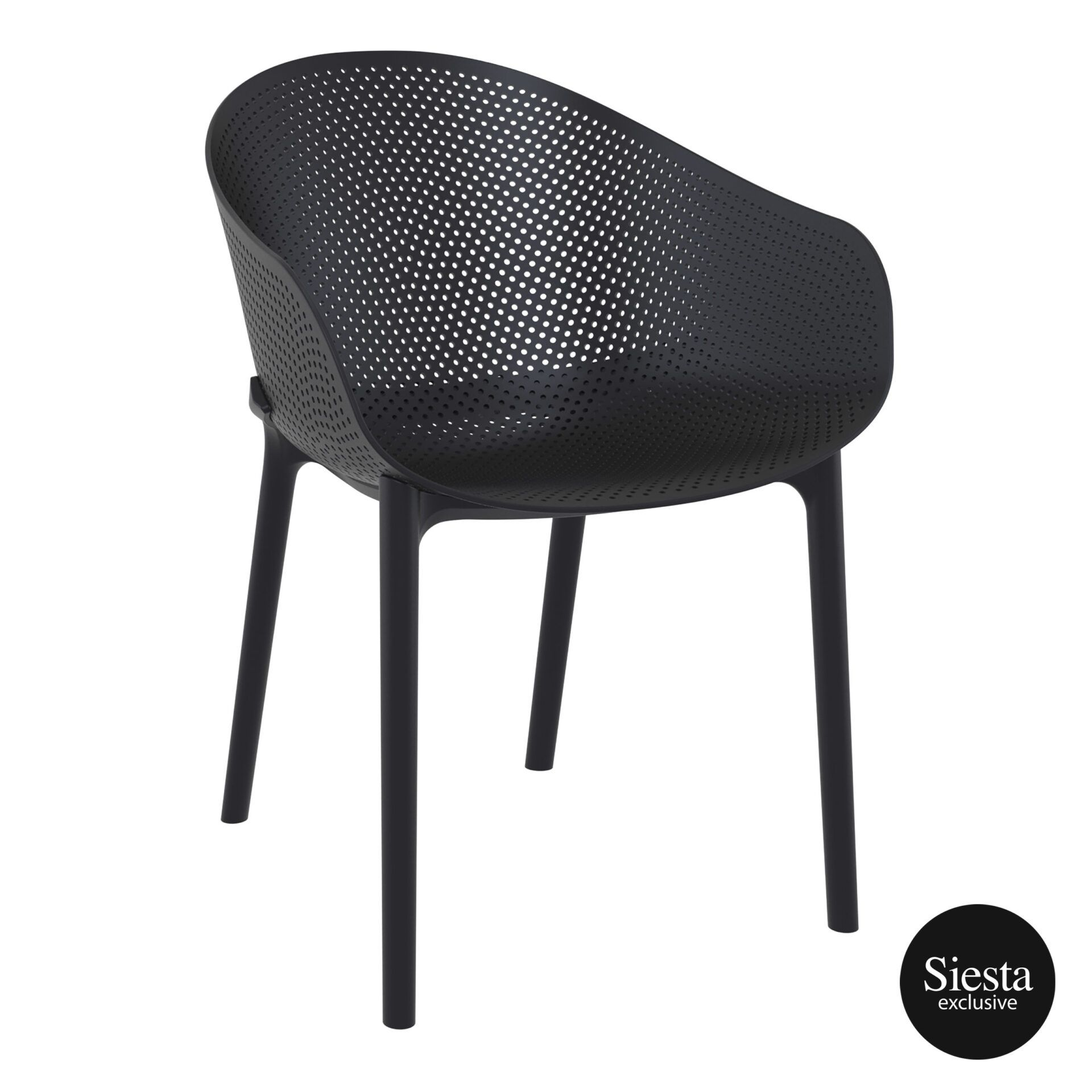 outdoor seating polypropylene sky chair black front side 1