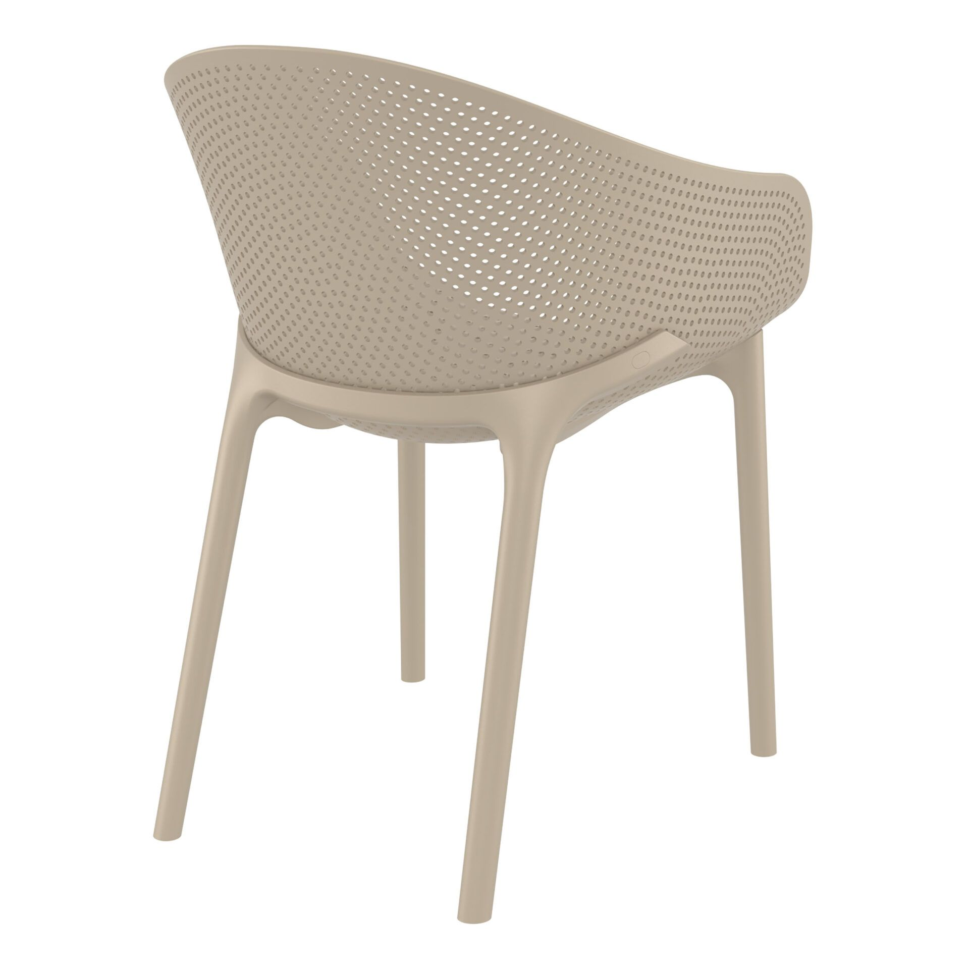 outdoor seating polypropylene sky chair taupe back side