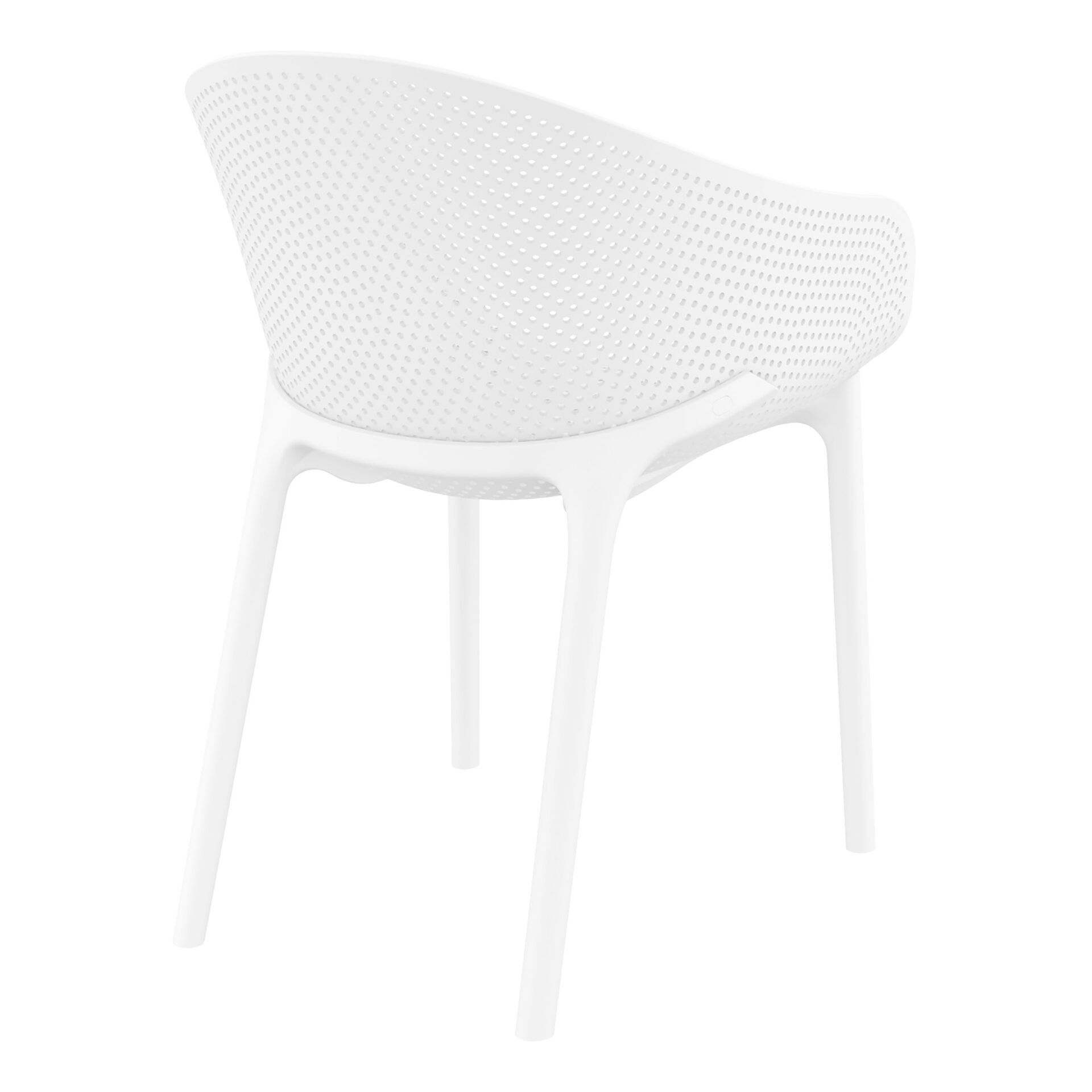 outdoor seating polypropylene sky chair white back side