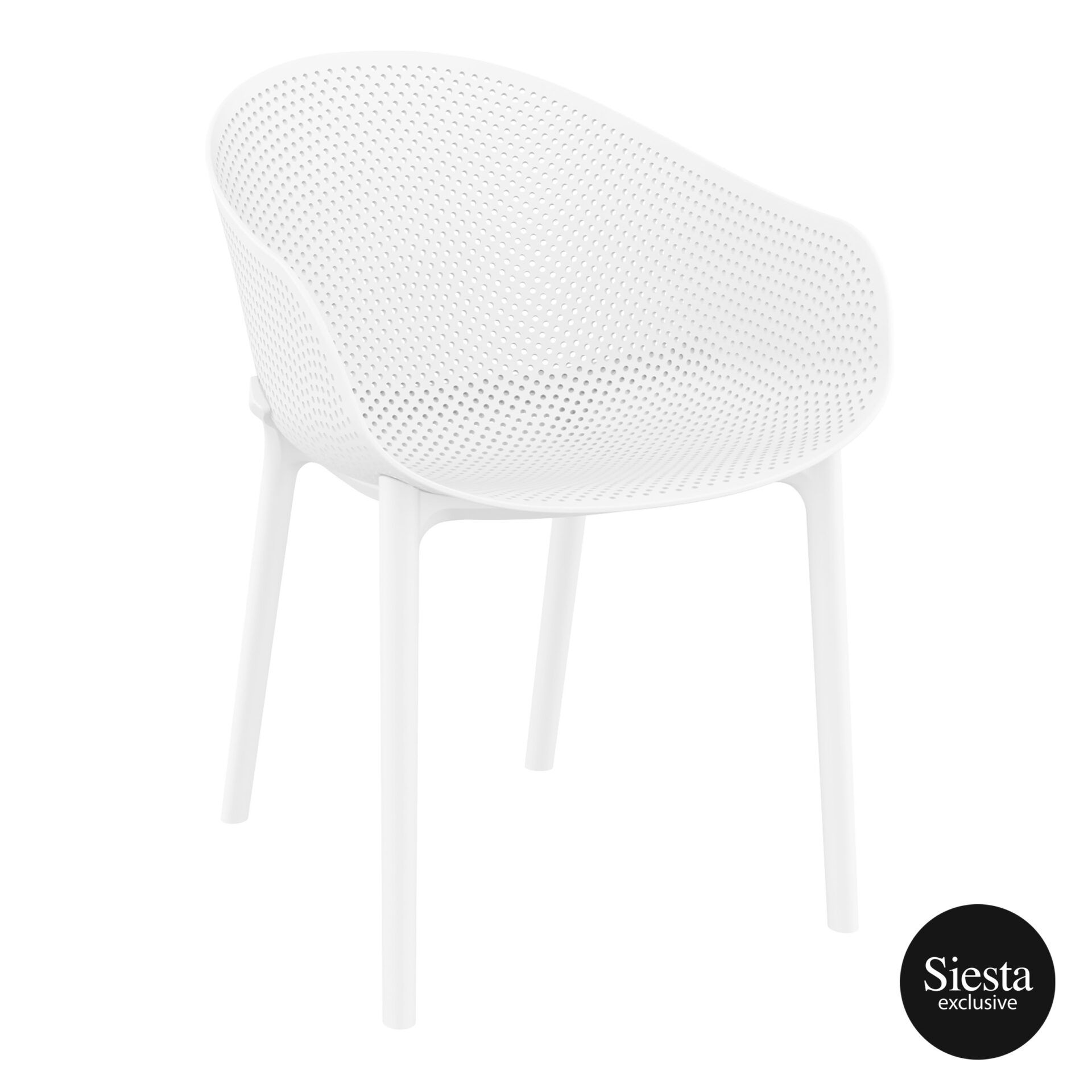 outdoor seating polypropylene sky chair white front side 1