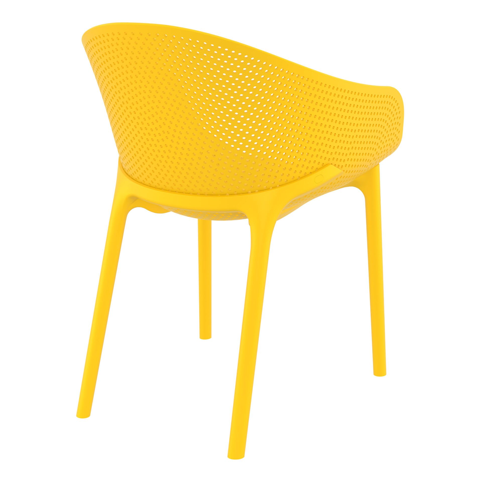 outdoor seating polypropylene sky chair yellow back side