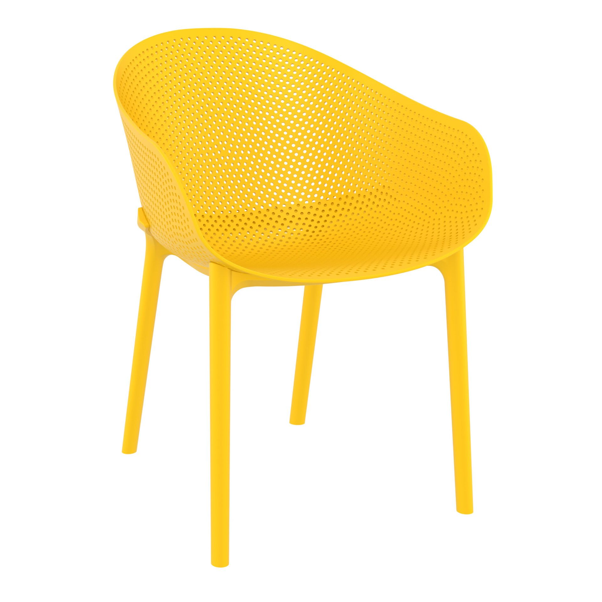 outdoor seating polypropylene sky chair yellow front side