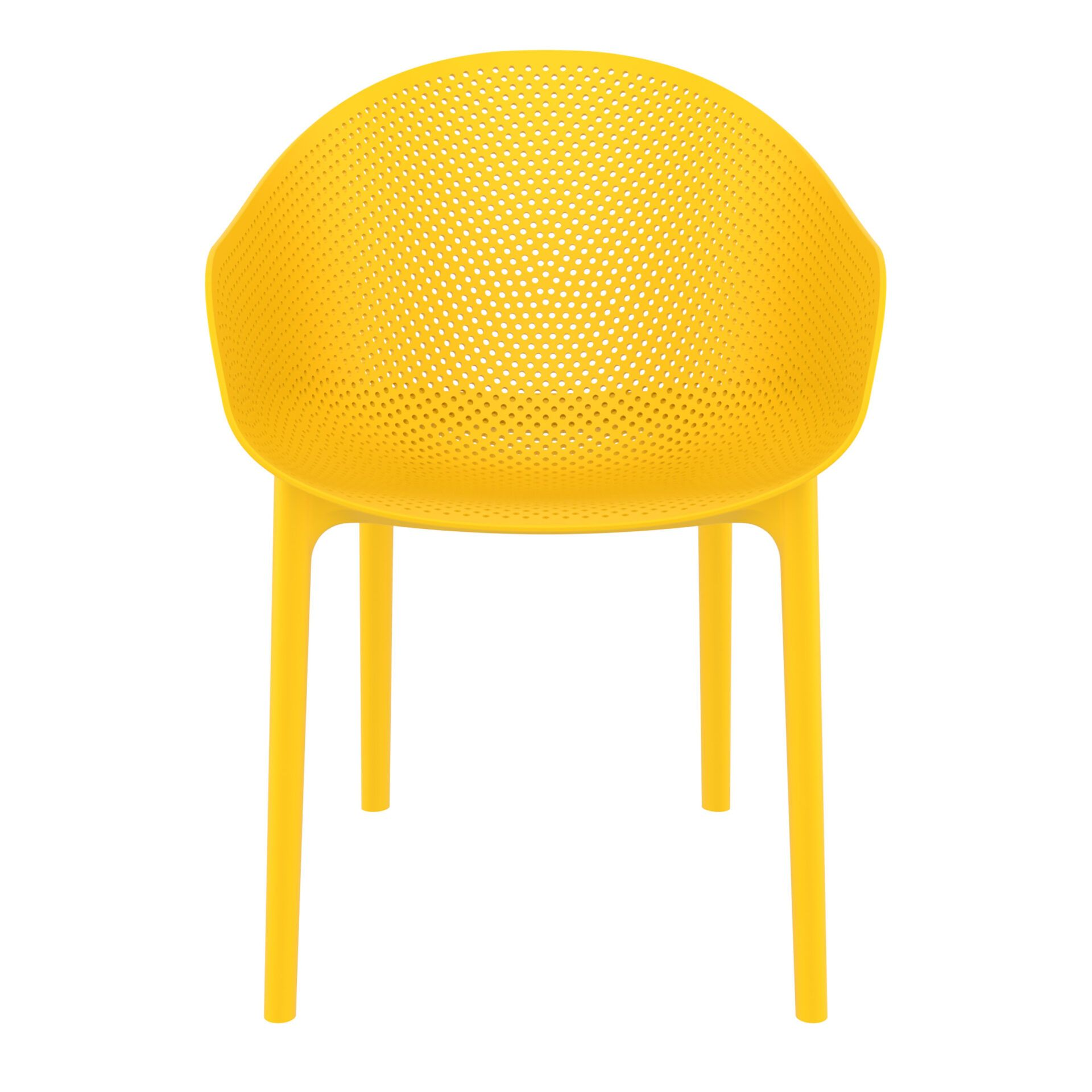 outdoor seating polypropylene sky chair yellow front