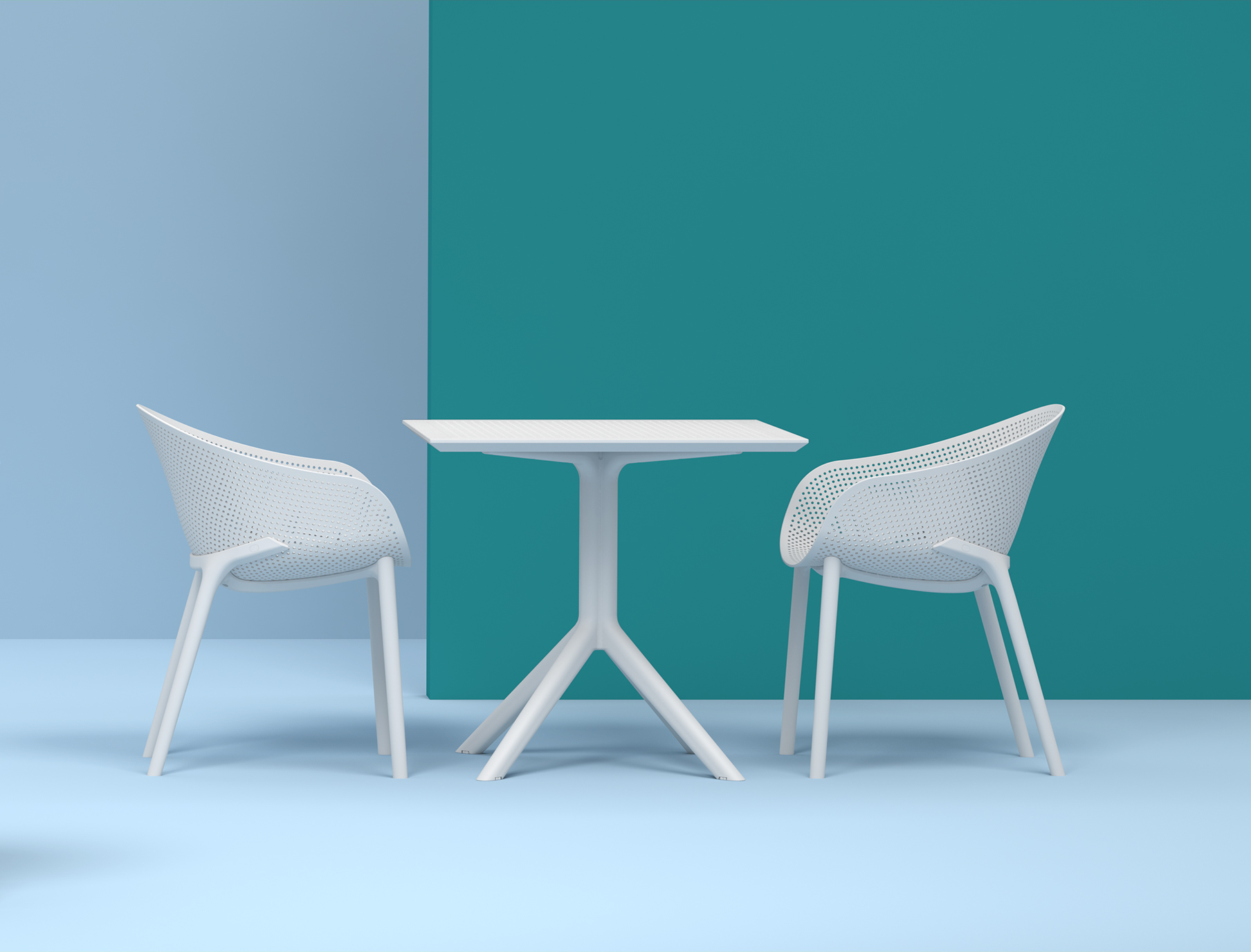 Sky Table 80 and Sky Chair Setting in White