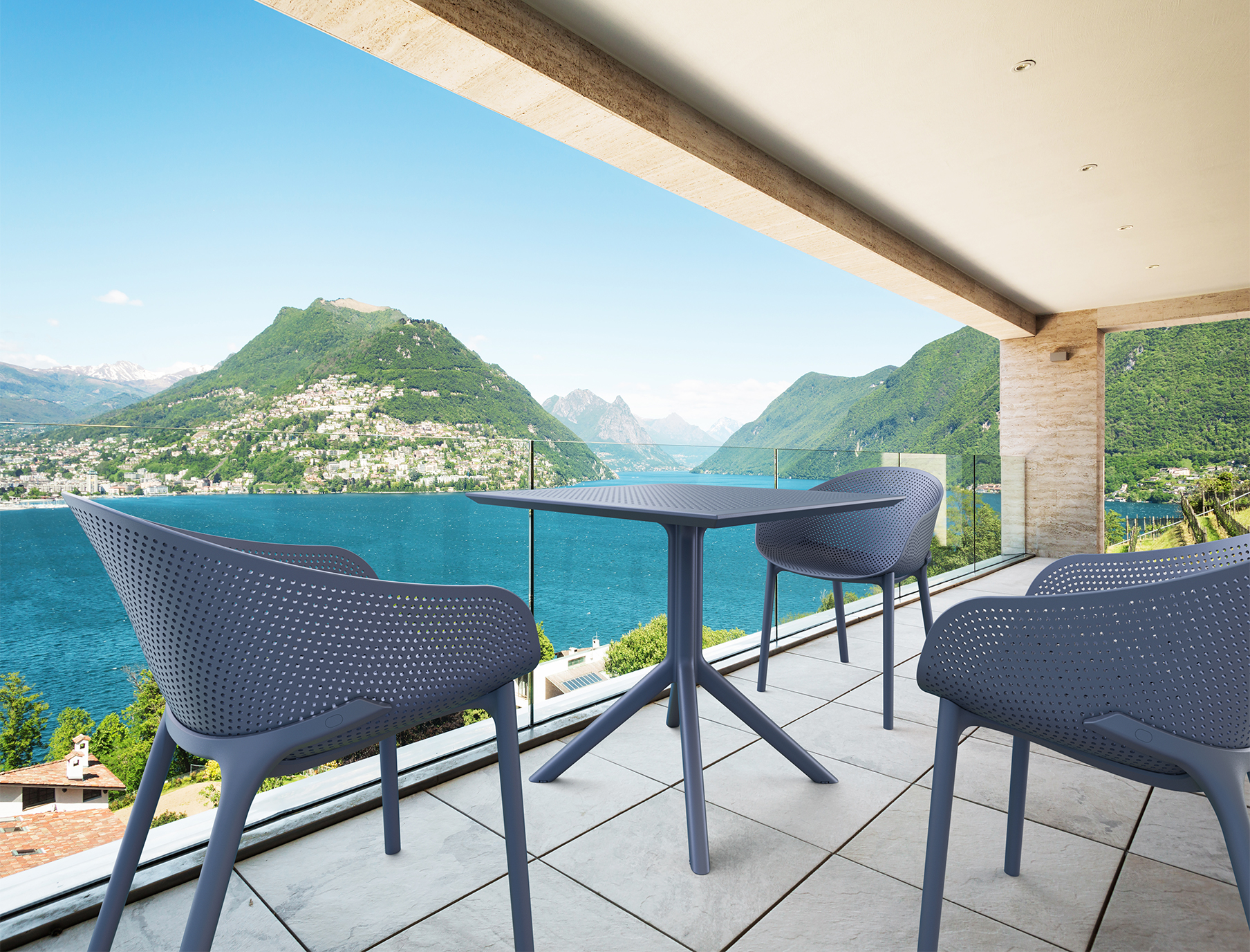 Sky Table 80 and Sky Chair Setting on Balcony