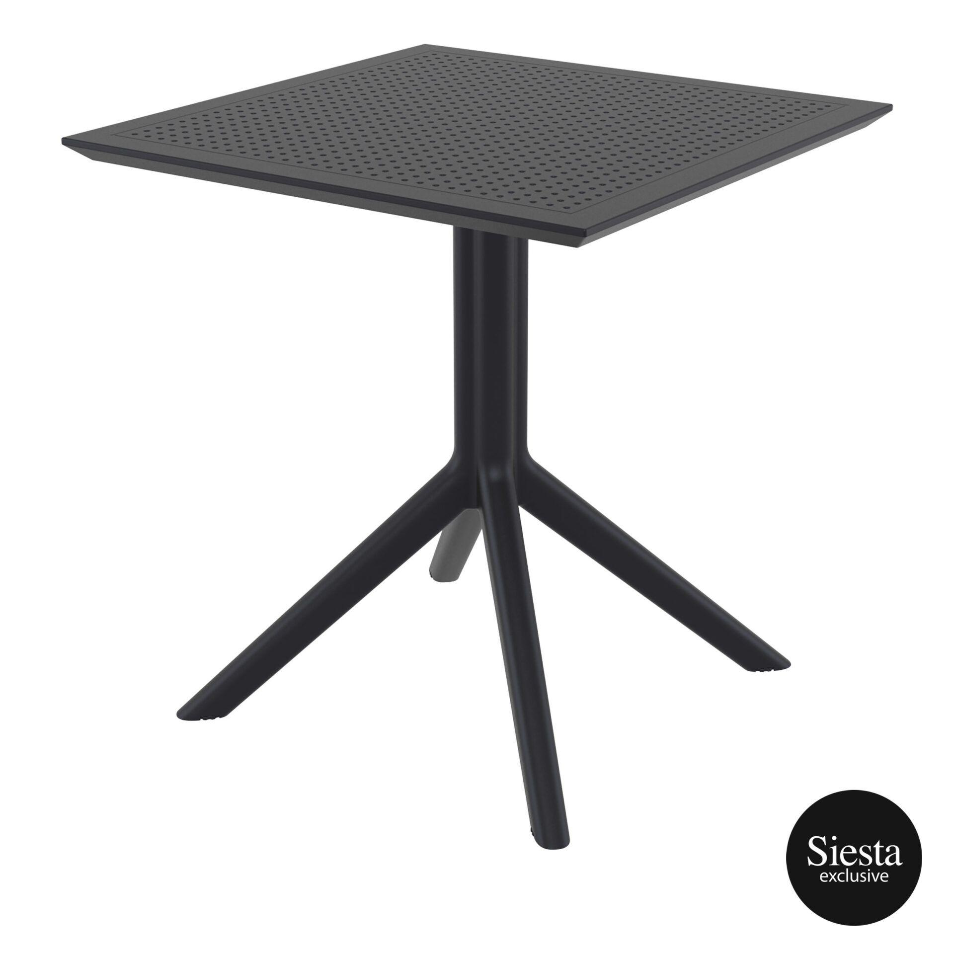 polypropylene outdoor cafe sky table 70 black front side 1
