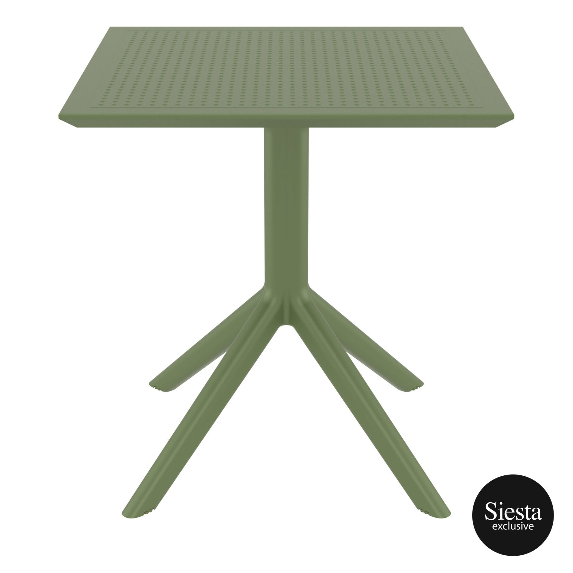 polypropylene outdoor cafe sky table 70 olive green front 1
