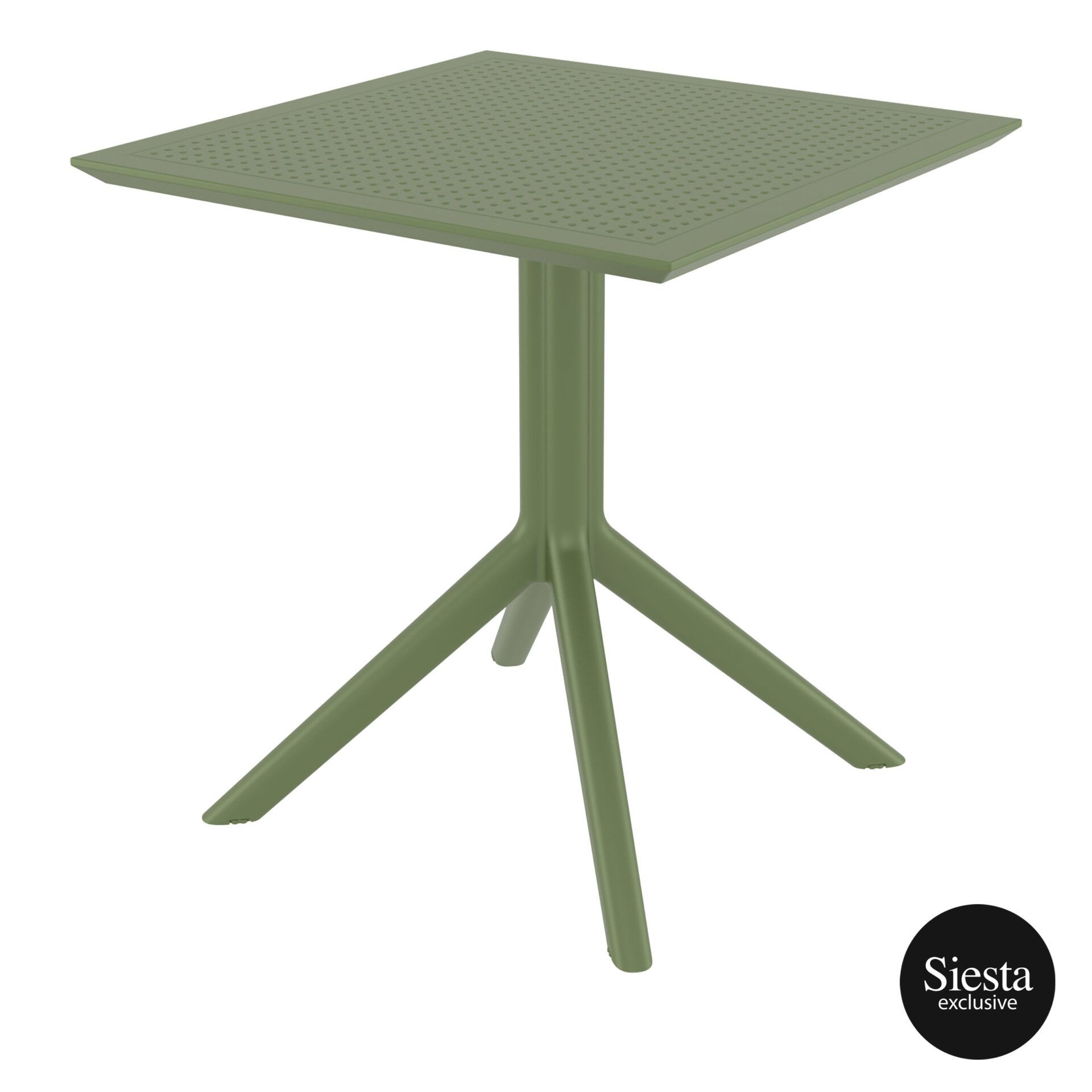polypropylene outdoor cafe sky table 70 olive green front side 1