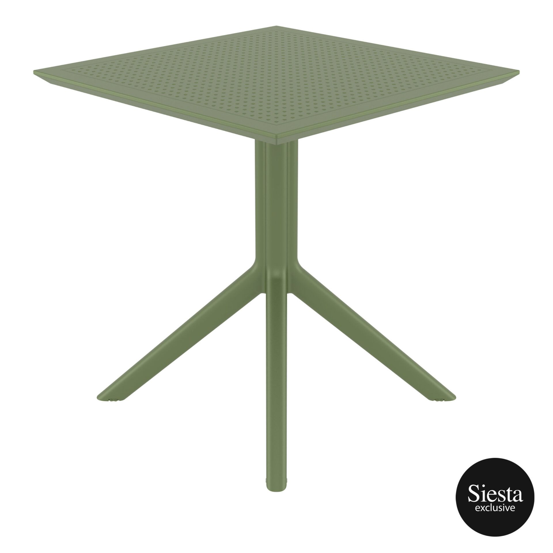 polypropylene outdoor cafe sky table 70 olive green side 1