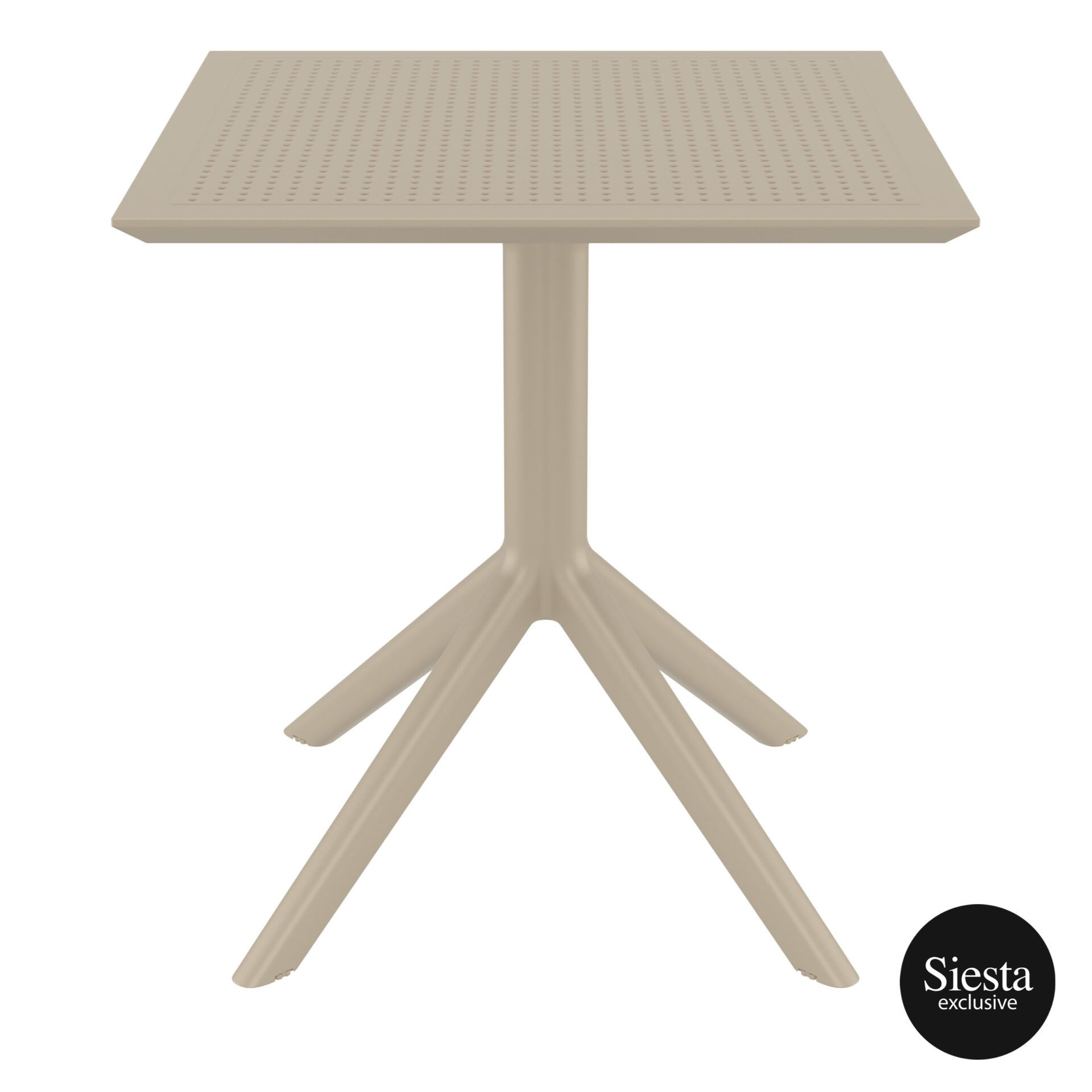 polypropylene outdoor cafe sky table 70 taupe front 1